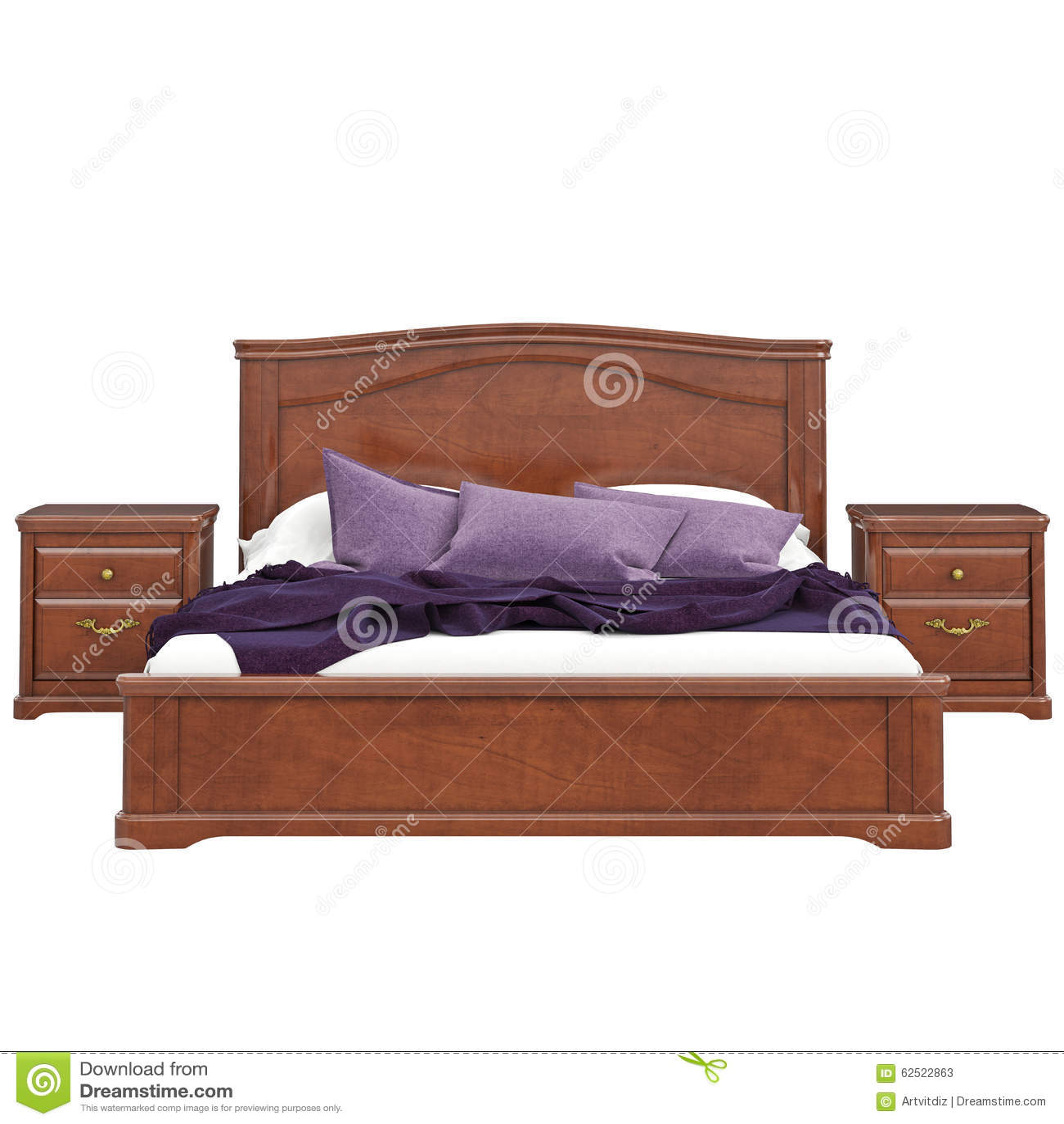 Bed van houten vooraanzicht stock illustratie afbeelding 62522863 - Klassiek bed ...