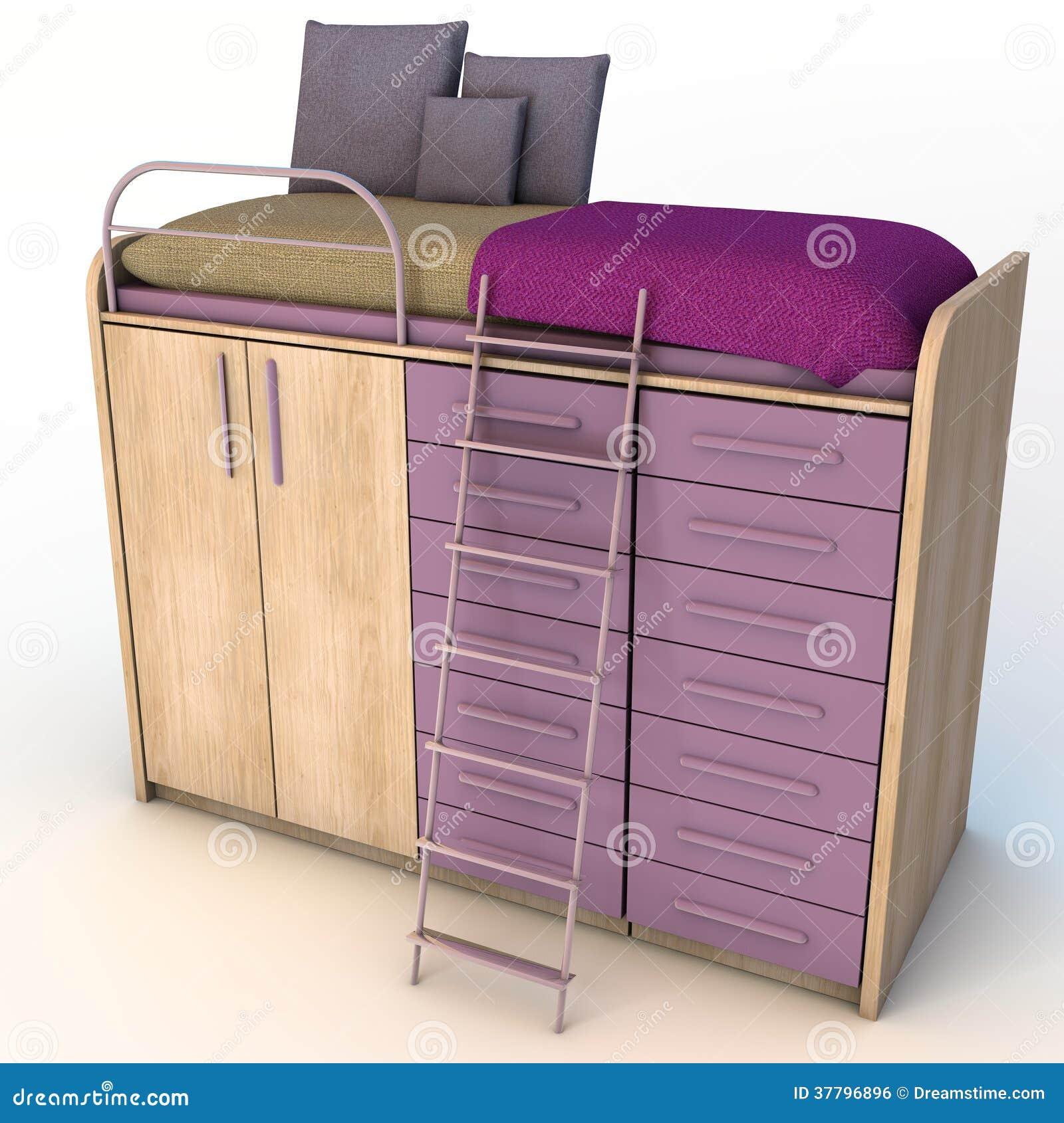 Bed Wardrobe Set Stock Illustration Illustration Of