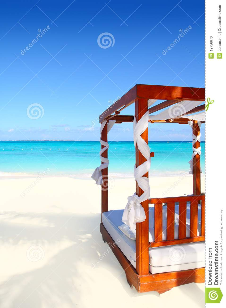 Bed Of Wood In Beach Caribbean Sea Sand Stock Photography