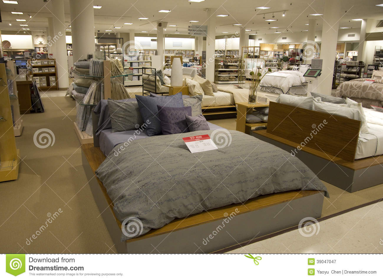 Bedding and home goods department store stock image for Home design furniture store