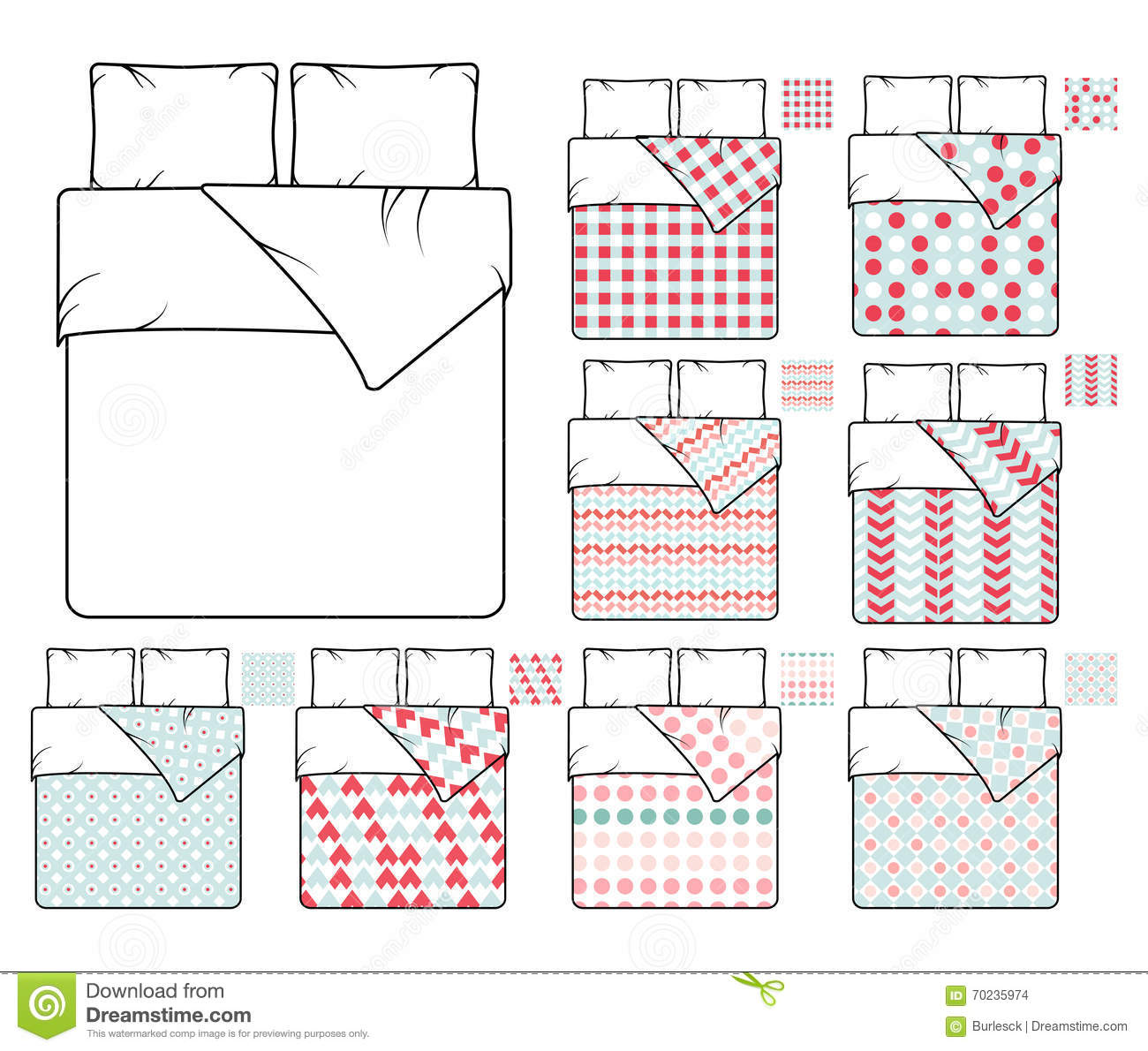 Bed Linen Template With Pillows Duvet Cover And Sheet