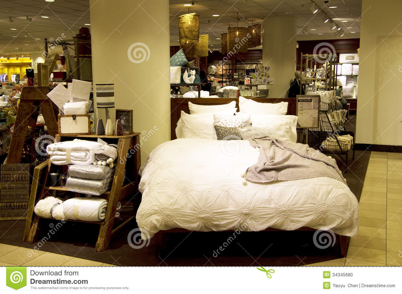 Bedding sets and home decor department store editorial Decorating items shop near me
