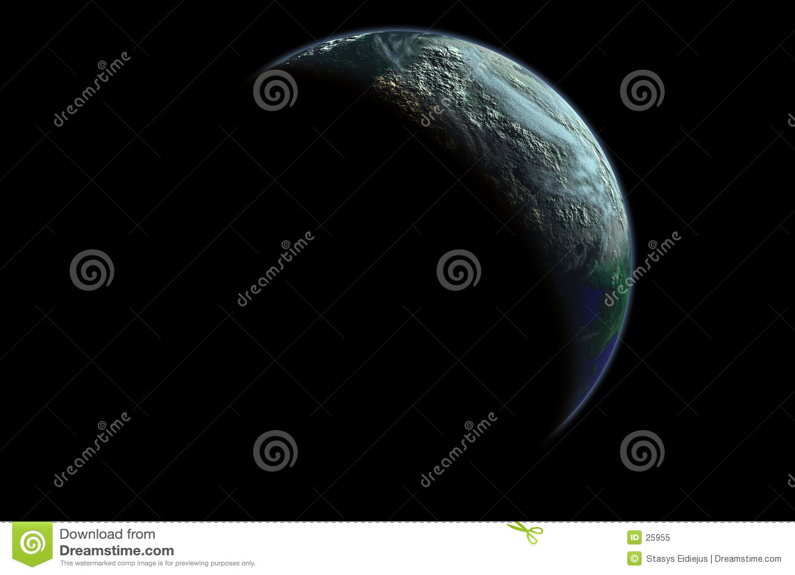 Bedecken Sie Planeten an der Dämmerung mit Erde