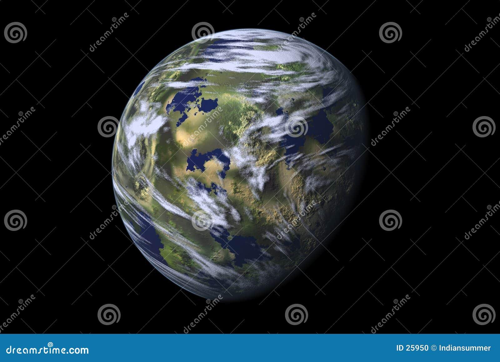 Bedecken Sie Planeten, II mit Erde