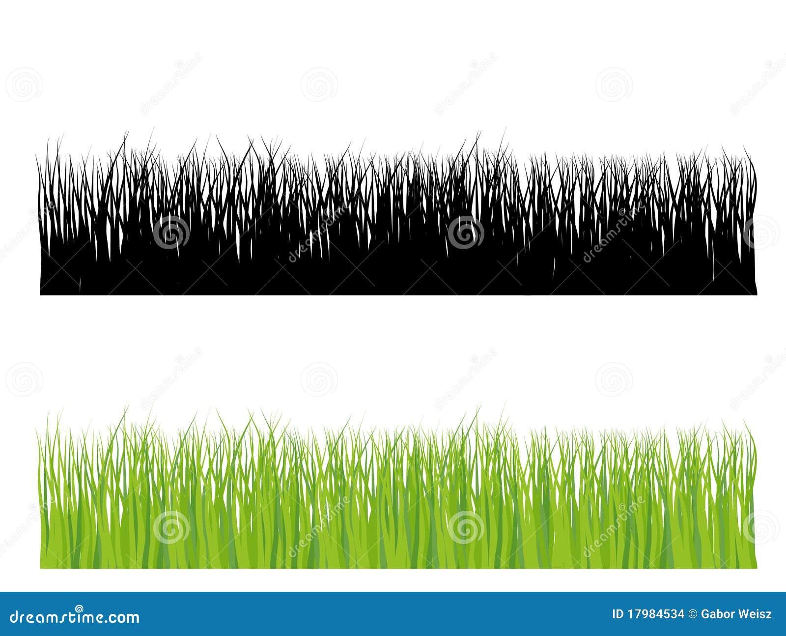 Bedecken Sie Schattenbild in der Farbe und im Schwarzen mit Gras