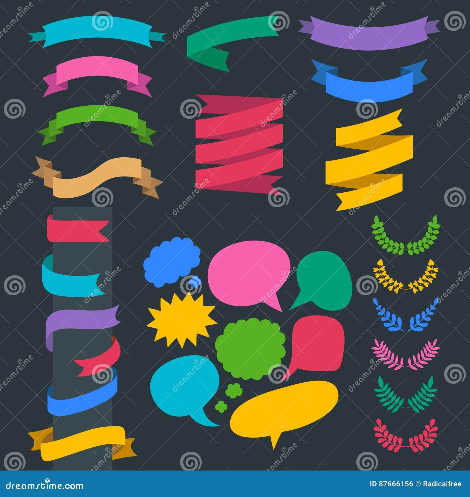 Bedel vectorreeks linten, kronen, laurels en toespraakbellen in vlakke stijl