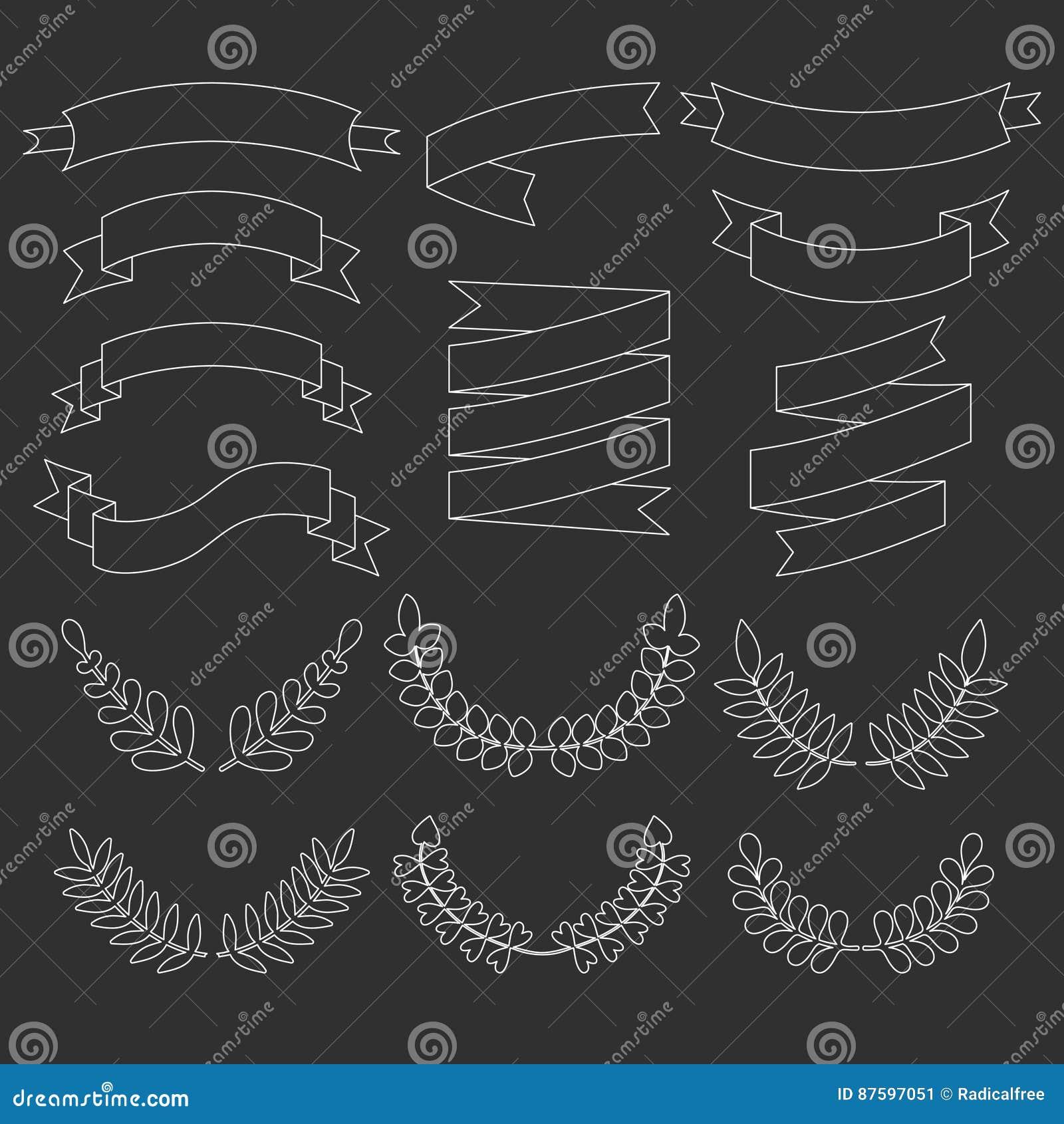 Bedel vectorreeks linten, kronen, laurels in vlakke stijl