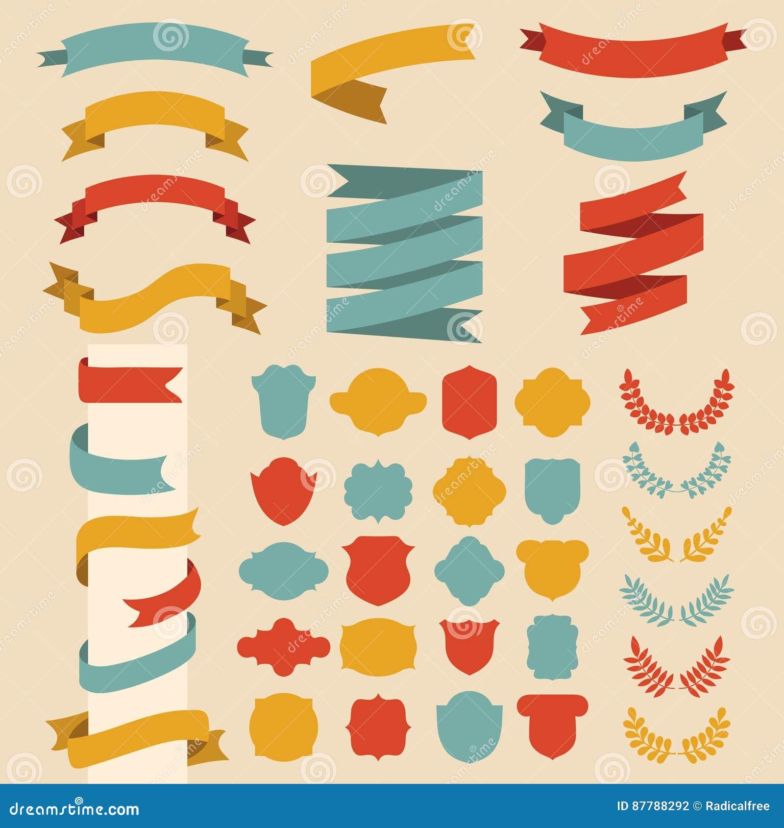 Bedel vectorreeks linten, laurels, kronen en etiketten in vlakke stijl