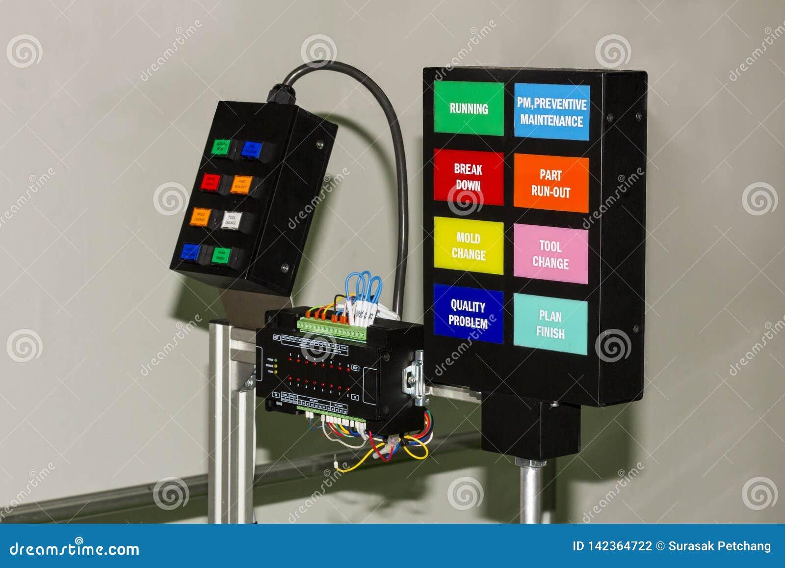 Bedienfeld elektrisch mit plc-Prüferausrüstung an der Werkstatt