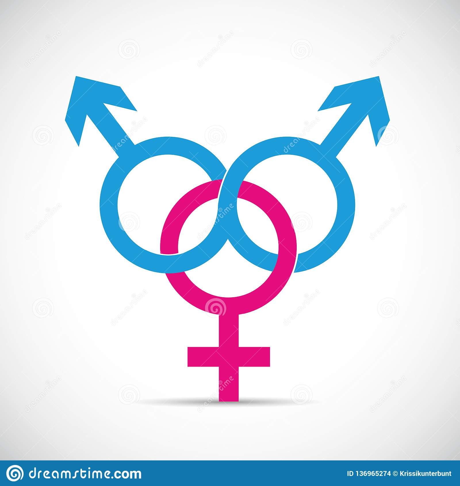 Bedrieg partnerverhouding en fraude twee mannelijk en één vrouwelijk symbool