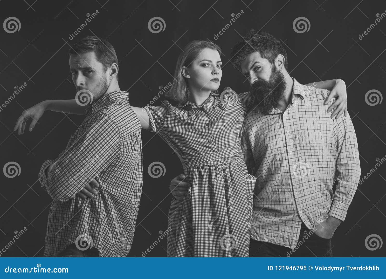 Bedrijf van zekere mensen, vrienden Het concept van de liefdedriehoek Relaties, mededeling, vriendschap, liefde, verraad mensen