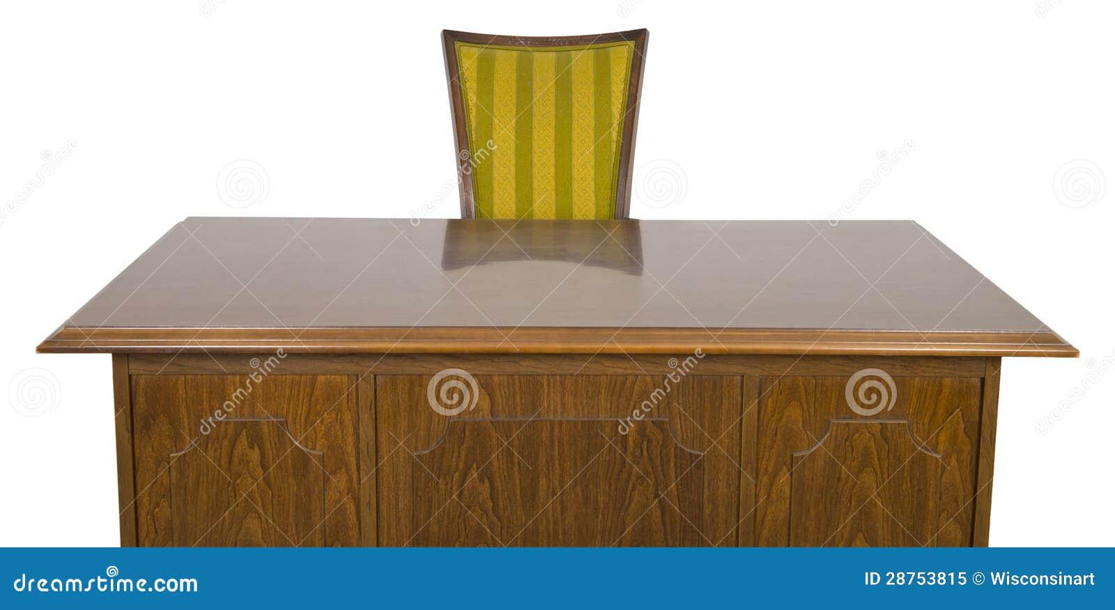 Bedrijfs bureau en stoel die op wit wordt geïsoleerds stock