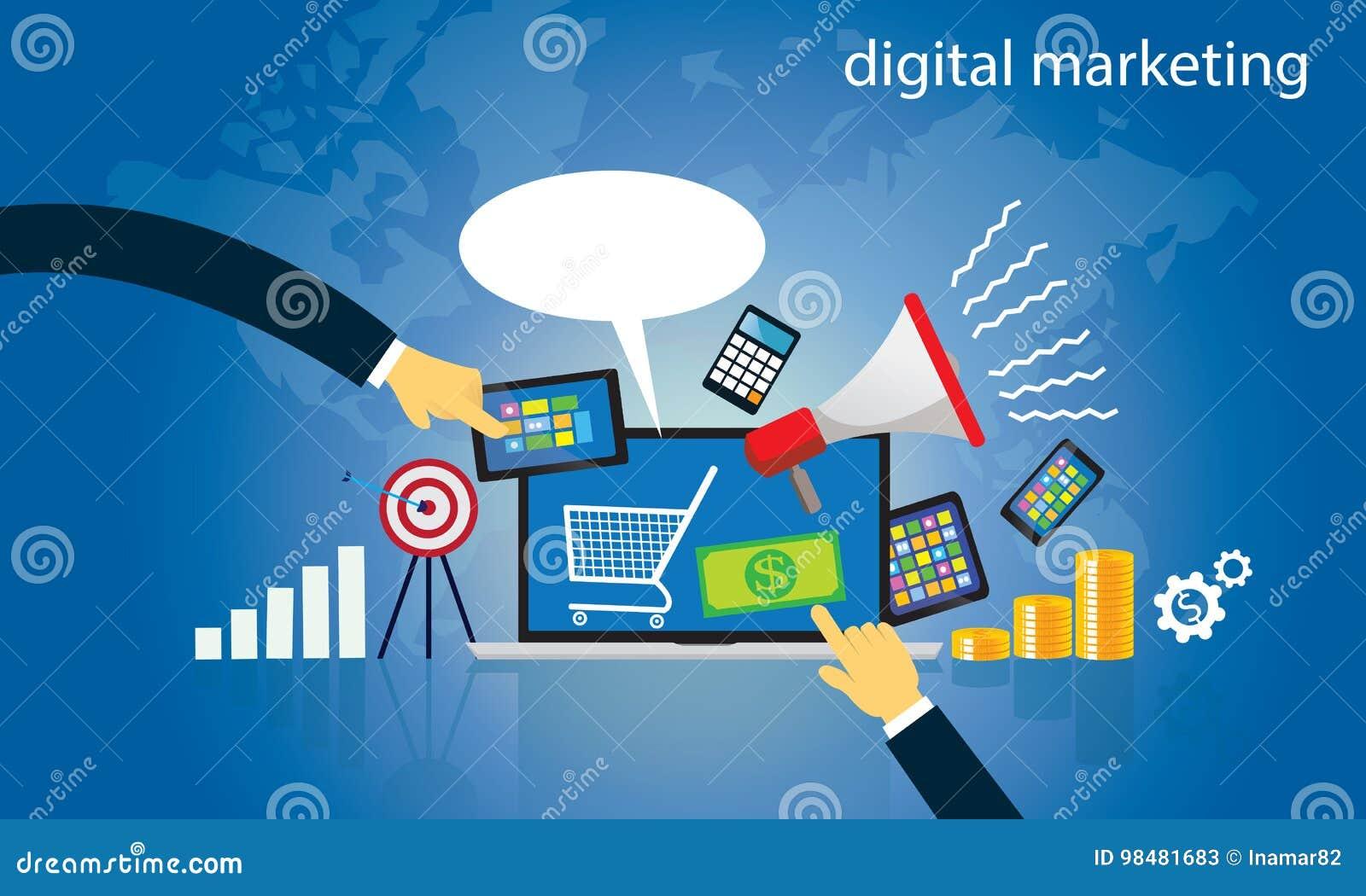 Bedrijfs concept Digitale de Marketing van Internet online Vector