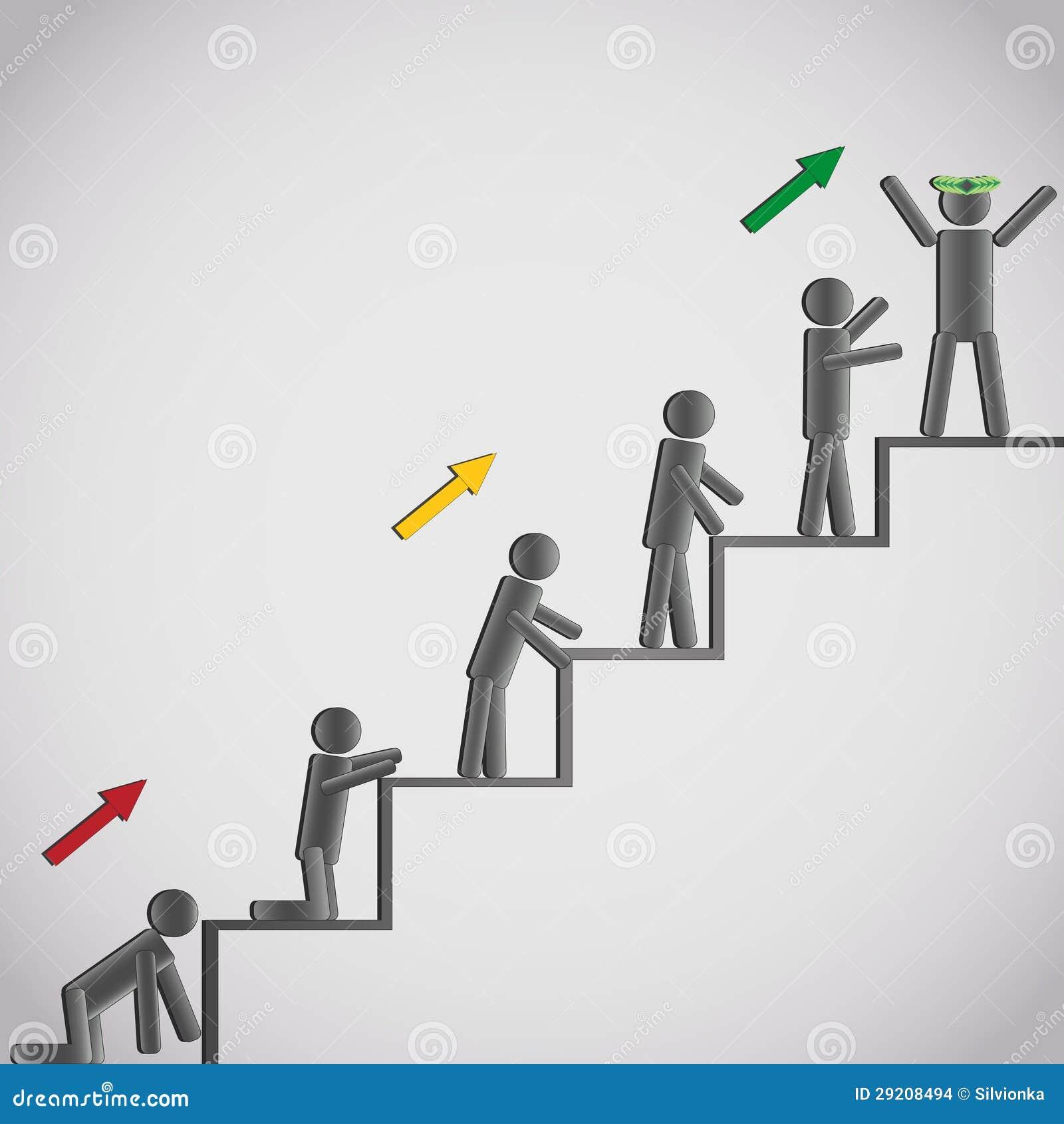 Bedrijfs concept pictogrammenmensen op trap stock afbeeldingen afbeelding 29208494 - De trap van de bistro ...