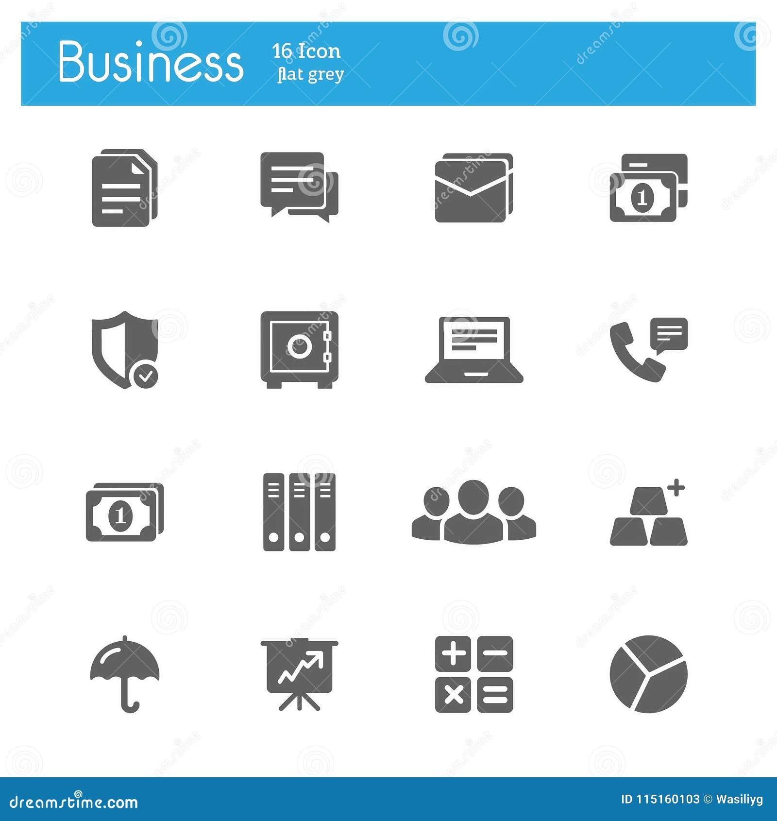Bedrijfs en Bankwezen vlakke grijze pictogrammen