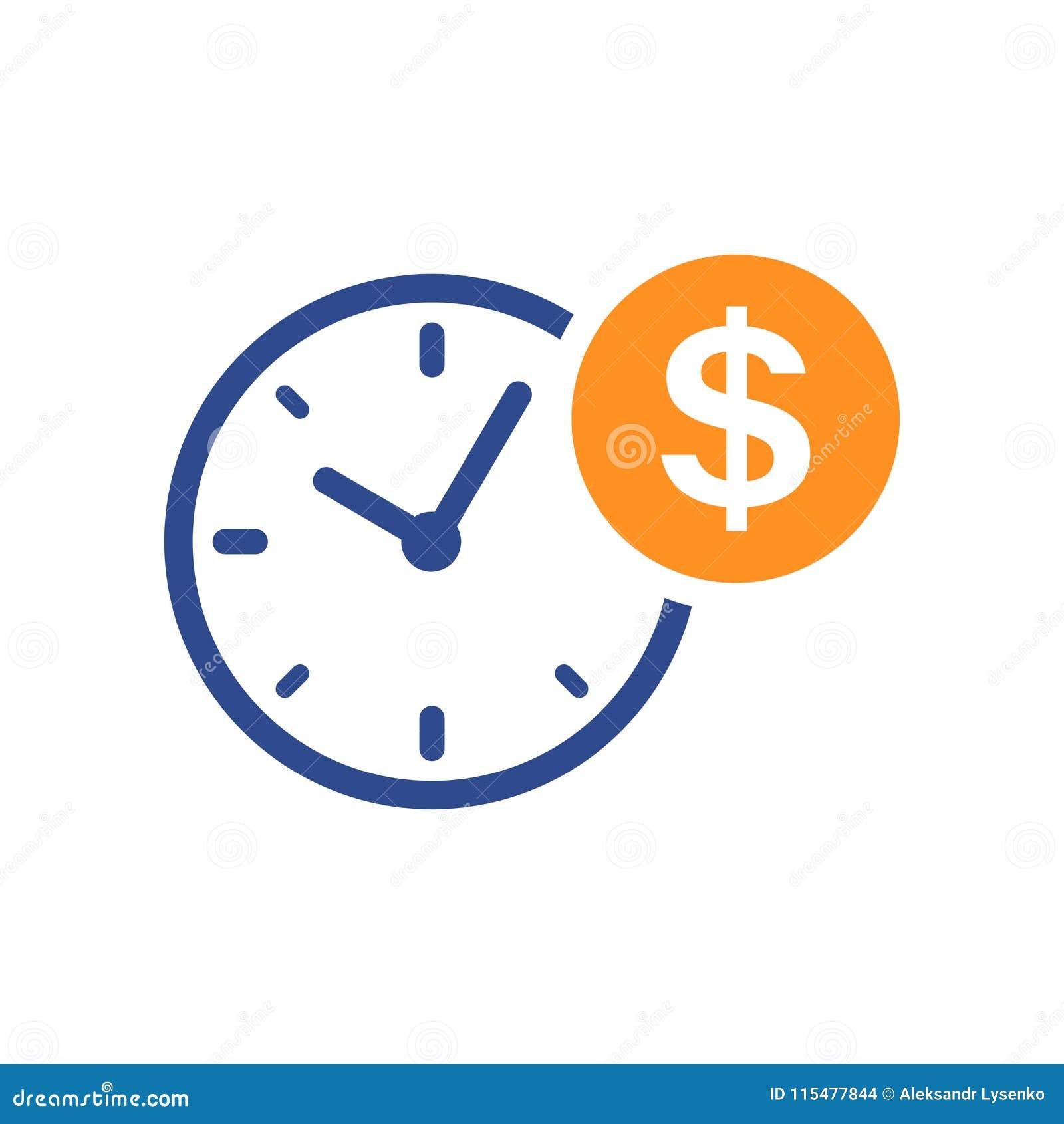 Bedrijfs en financiënbeheerspictogram in vlakke stijl De tijd is mone