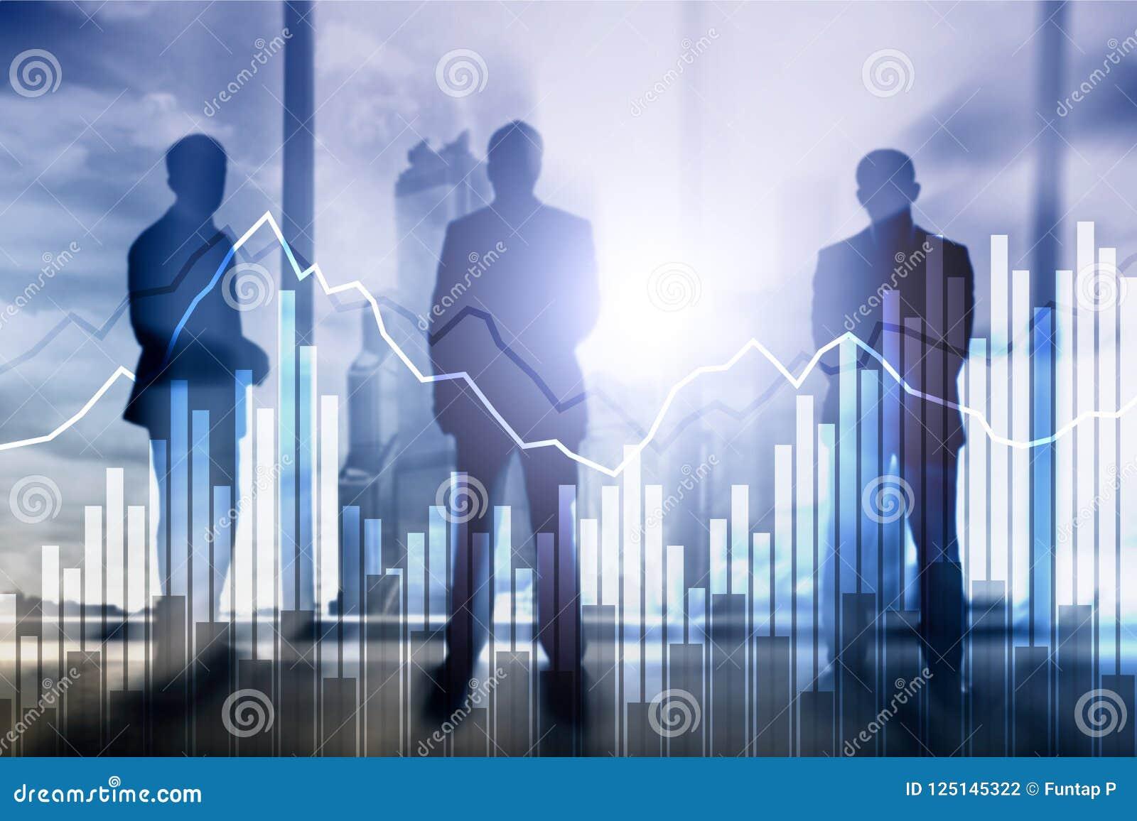 Bedrijfs en financiëngrafiek op vage achtergrond Handel, investering en economieconcept