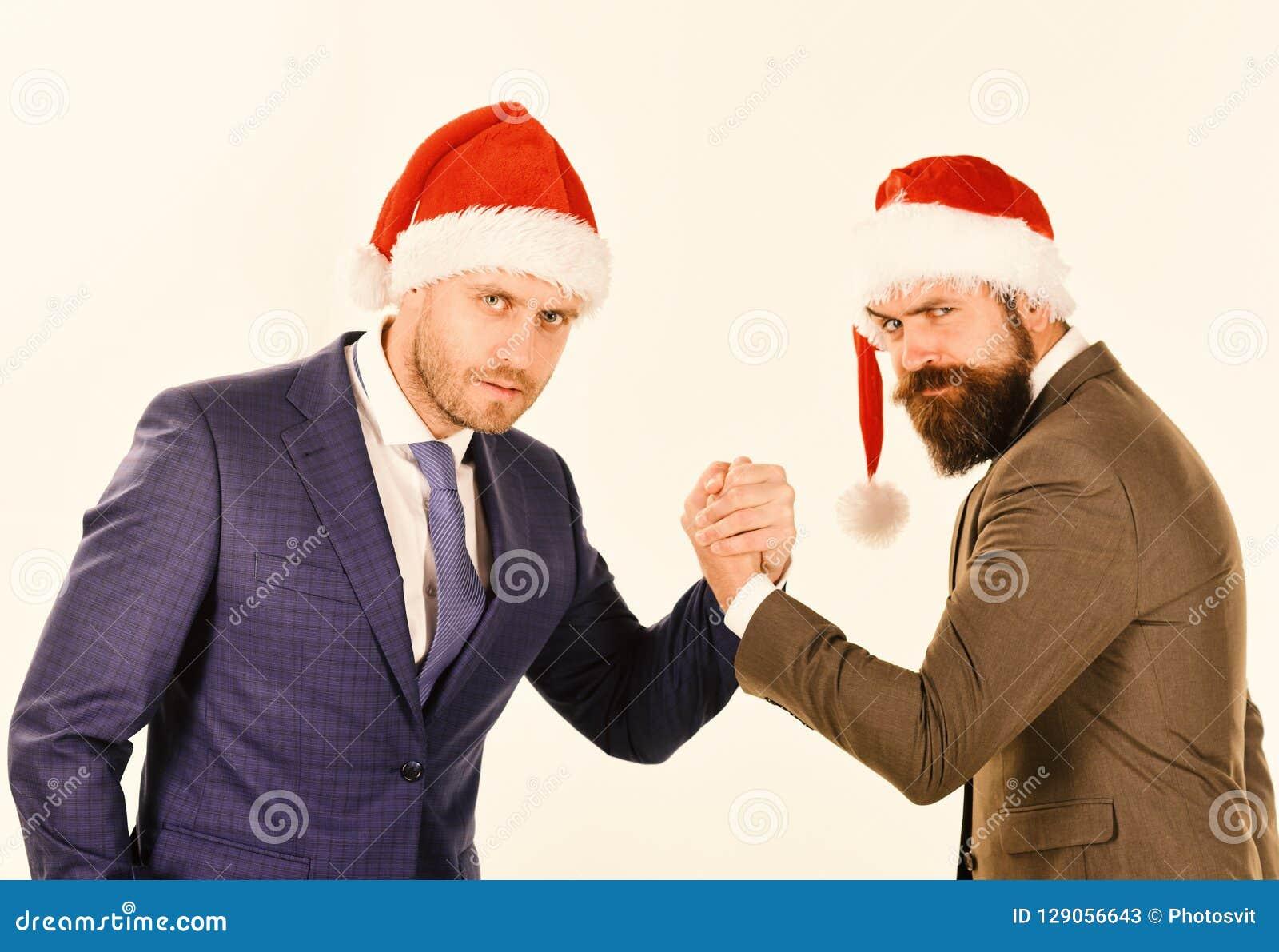 Bedrijfs en Kerstmisvakantieconcept Mensen in klassieke kostuums