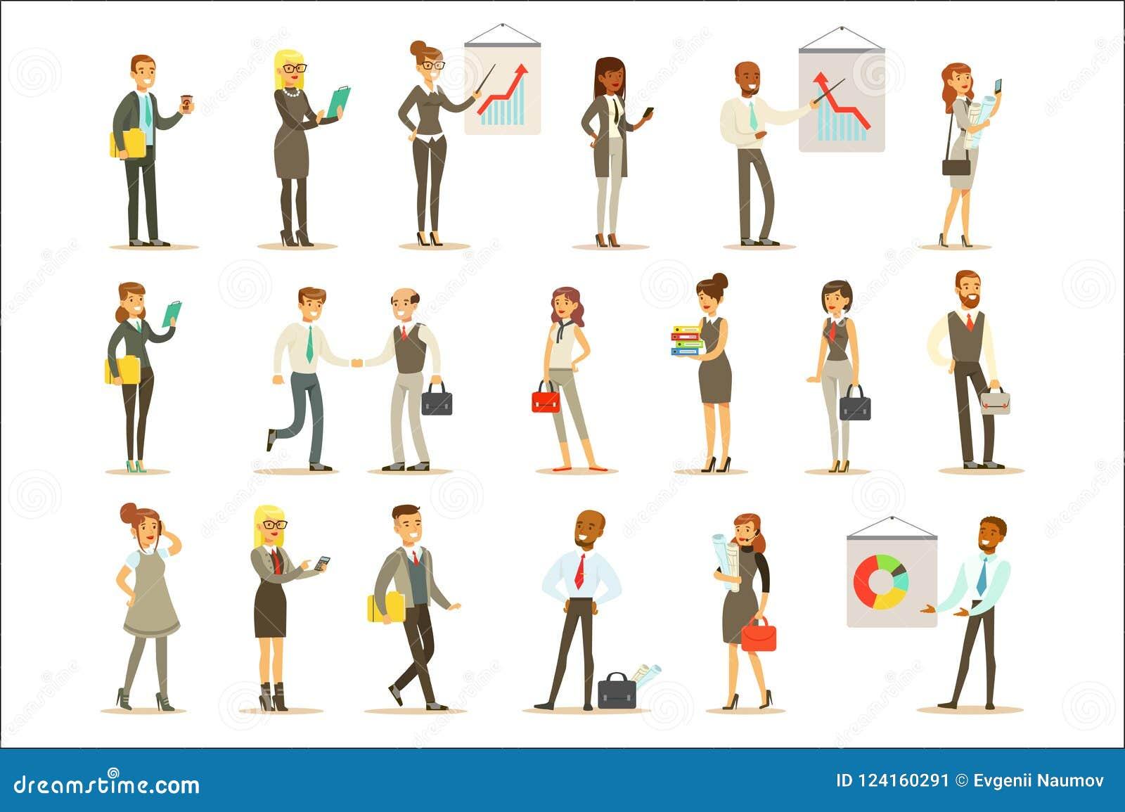 Bedrijfs, Financiën en Bureauwerknemers in Kostuums Bezig bij het Werkreeks van Beeldverhaalzakenman And Businesswoman Characters