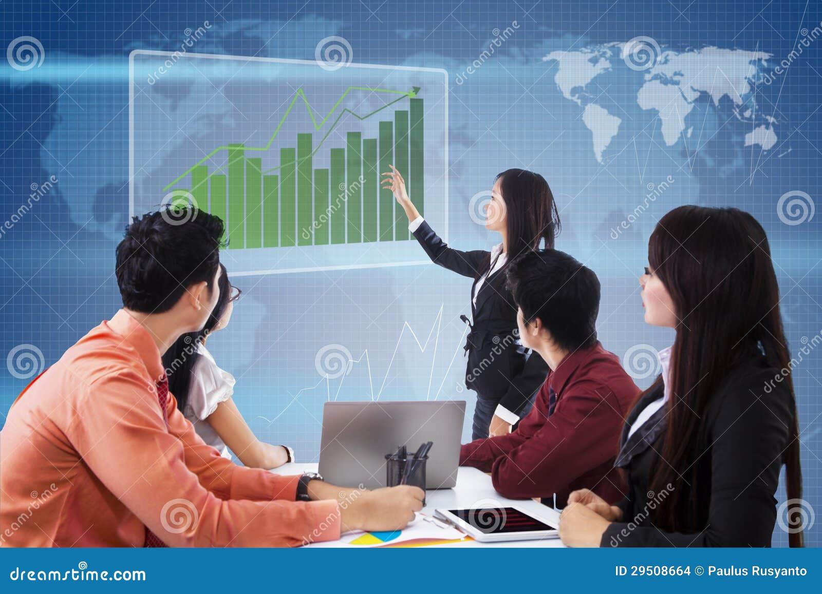 Bedrijfs globale vergadering en presentatie