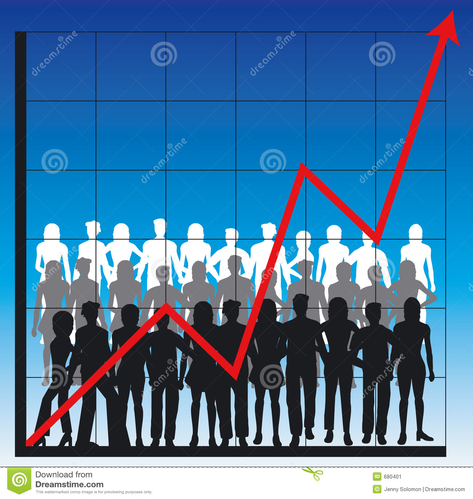 Bedrijfs grafiek en mensen
