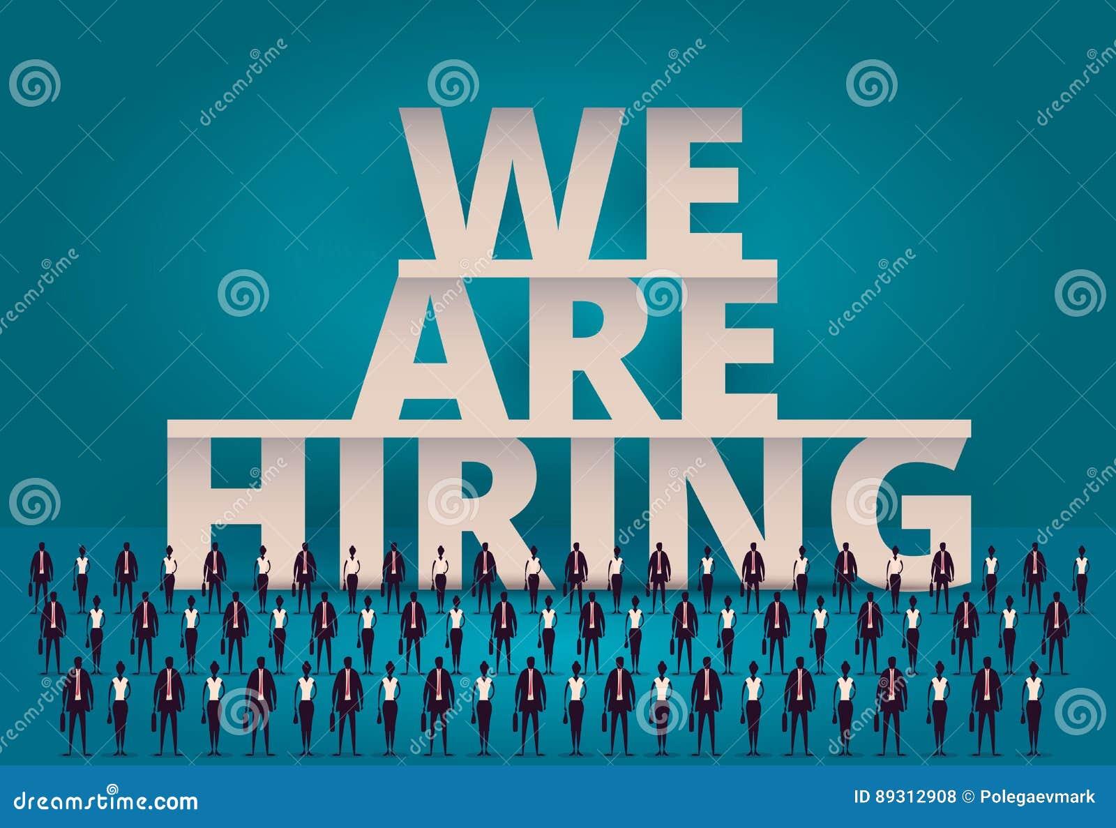 Bedrijfs het huren concept U-manager hurende werknemer of arbeiders voor baan Het aanwerven van personeel of personeel in bedrijf
