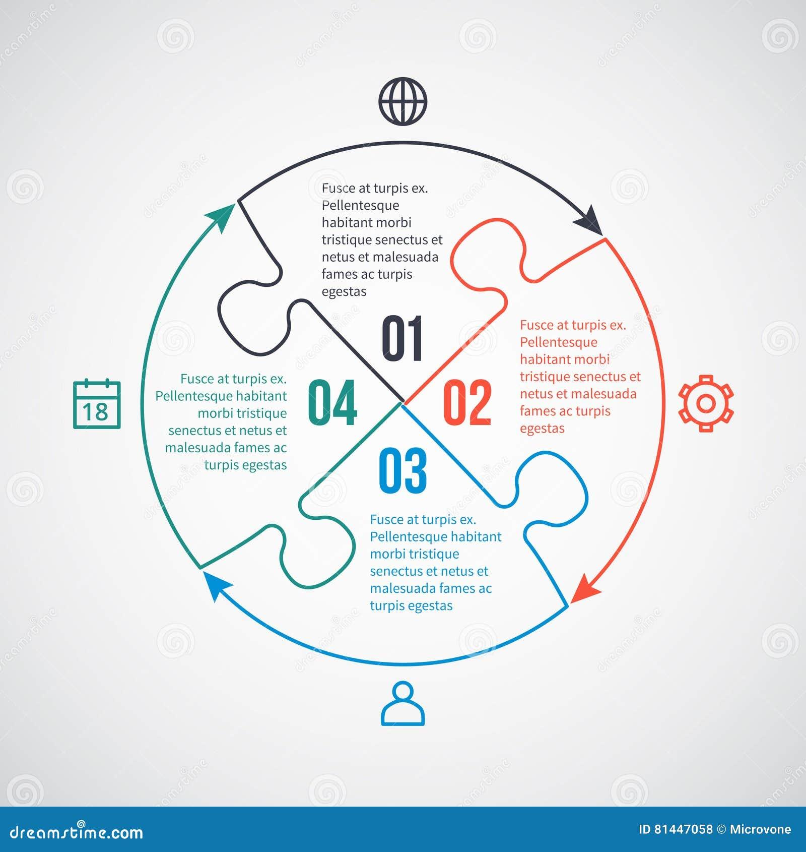 Bedrijfs infographic vectormalplaatje met lijnpictogrammen, raadselelementen voor 4 opties, delen, stappen, processen