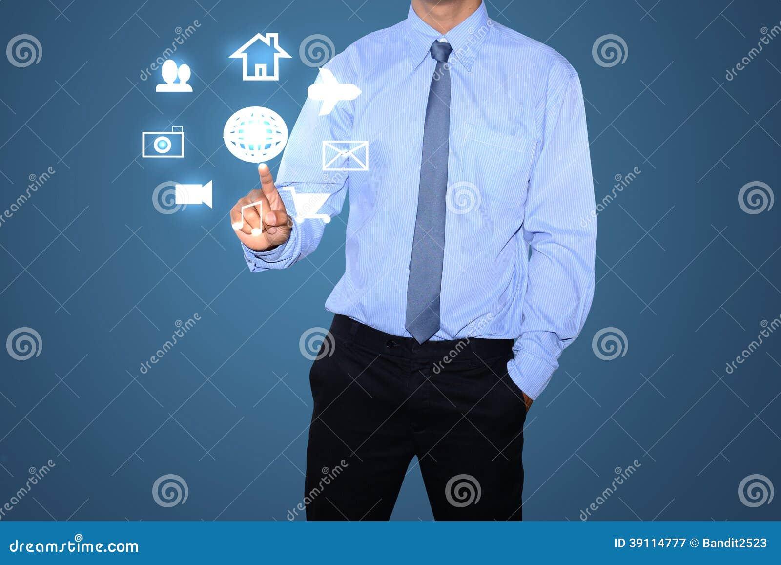 Bedrijfs mens die sociaal netwerk trekken