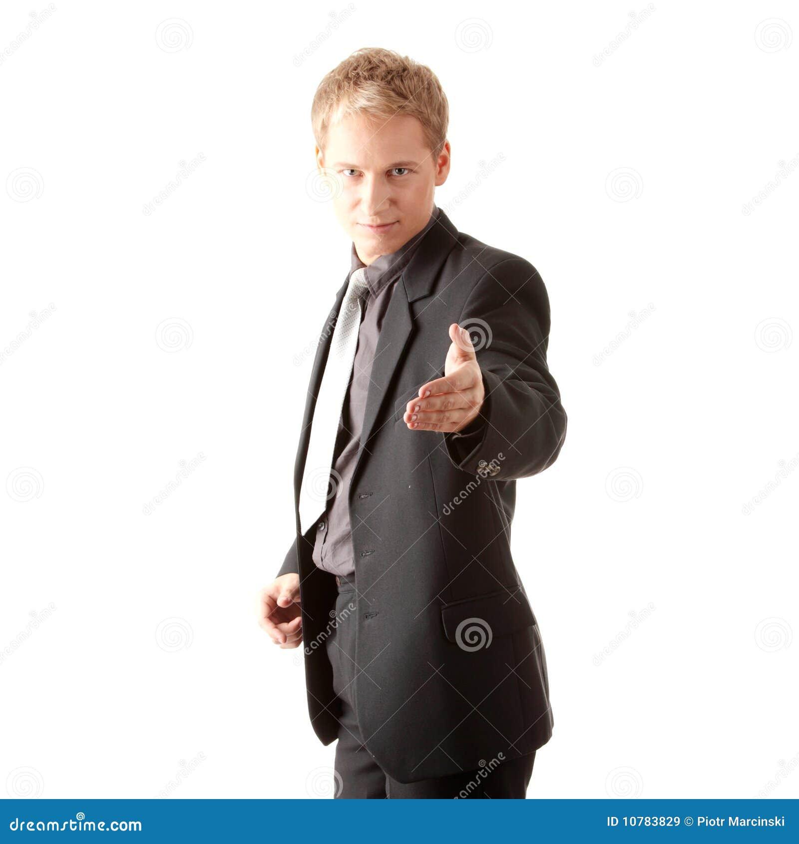 Bedrijfs mens klaar om een overeenkomst te plaatsen