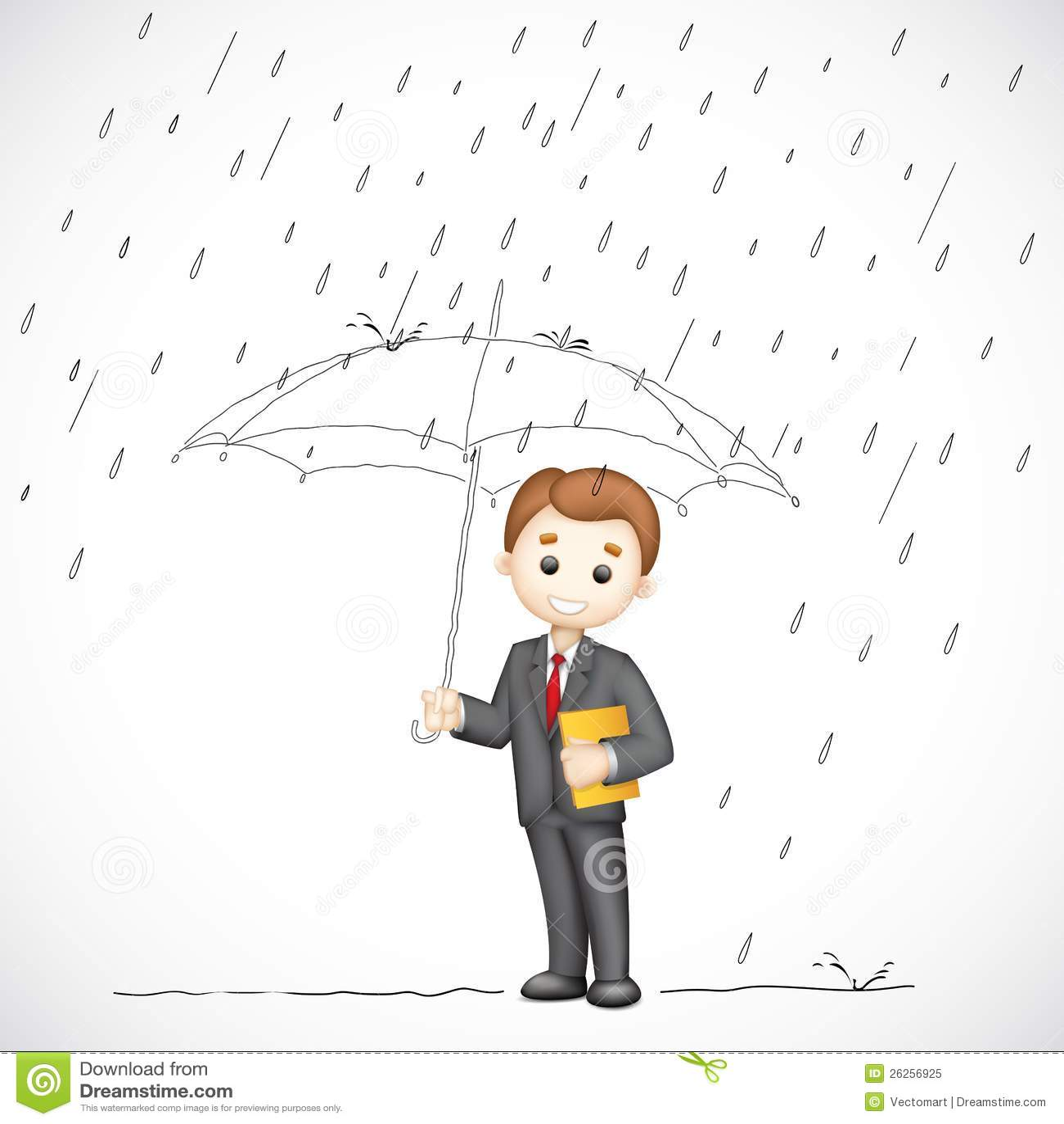 bedrijfs mens onder paraplu vector illustratie