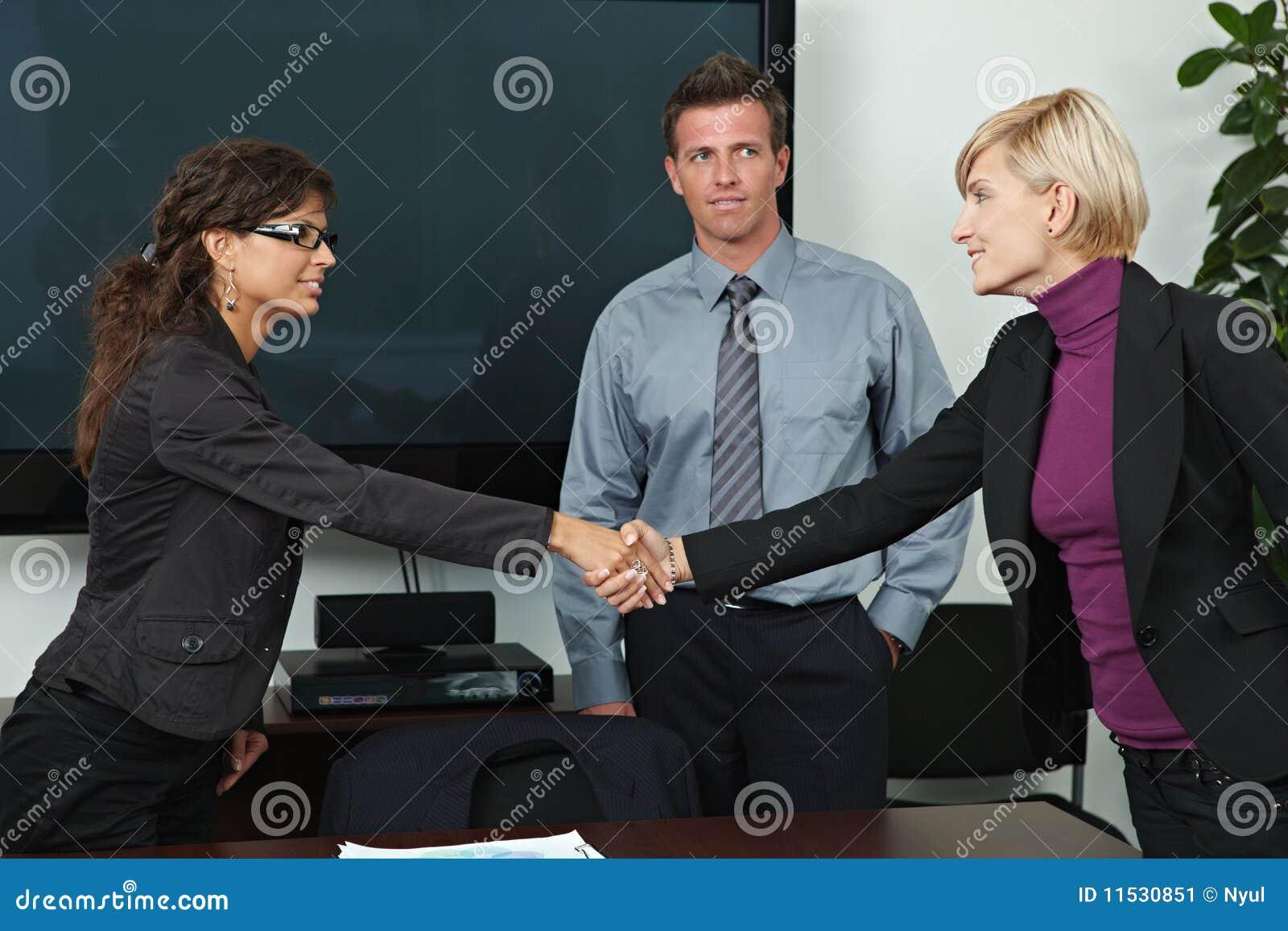 Bedrijfs mensen die handen schudden