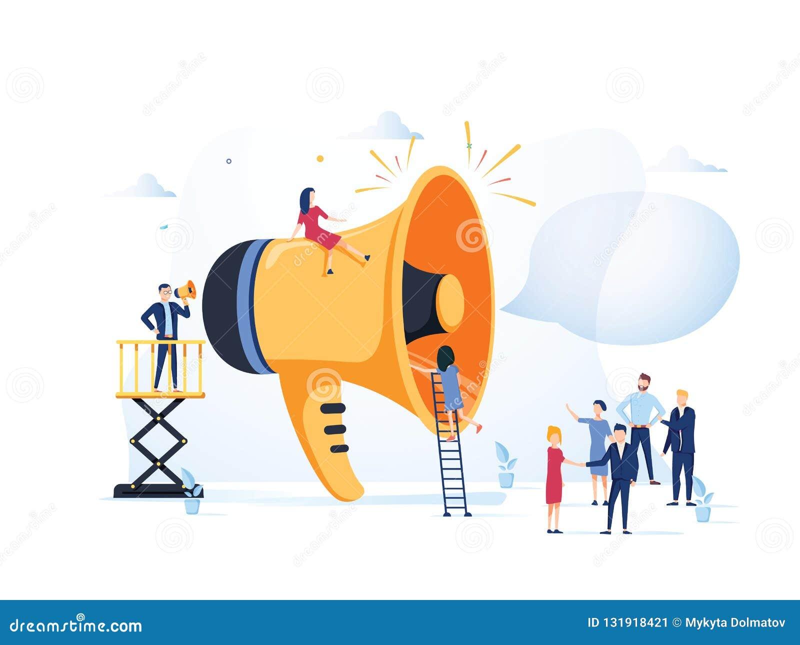 Bedrijfs Reclamebevordering Luidspreker die aan de Menigte spreken Grote Megafoon en de Vlakke Reclame van Mensenkarakters