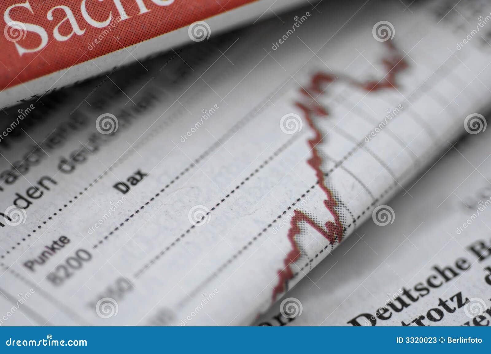 Bedrijfs sectie van krant