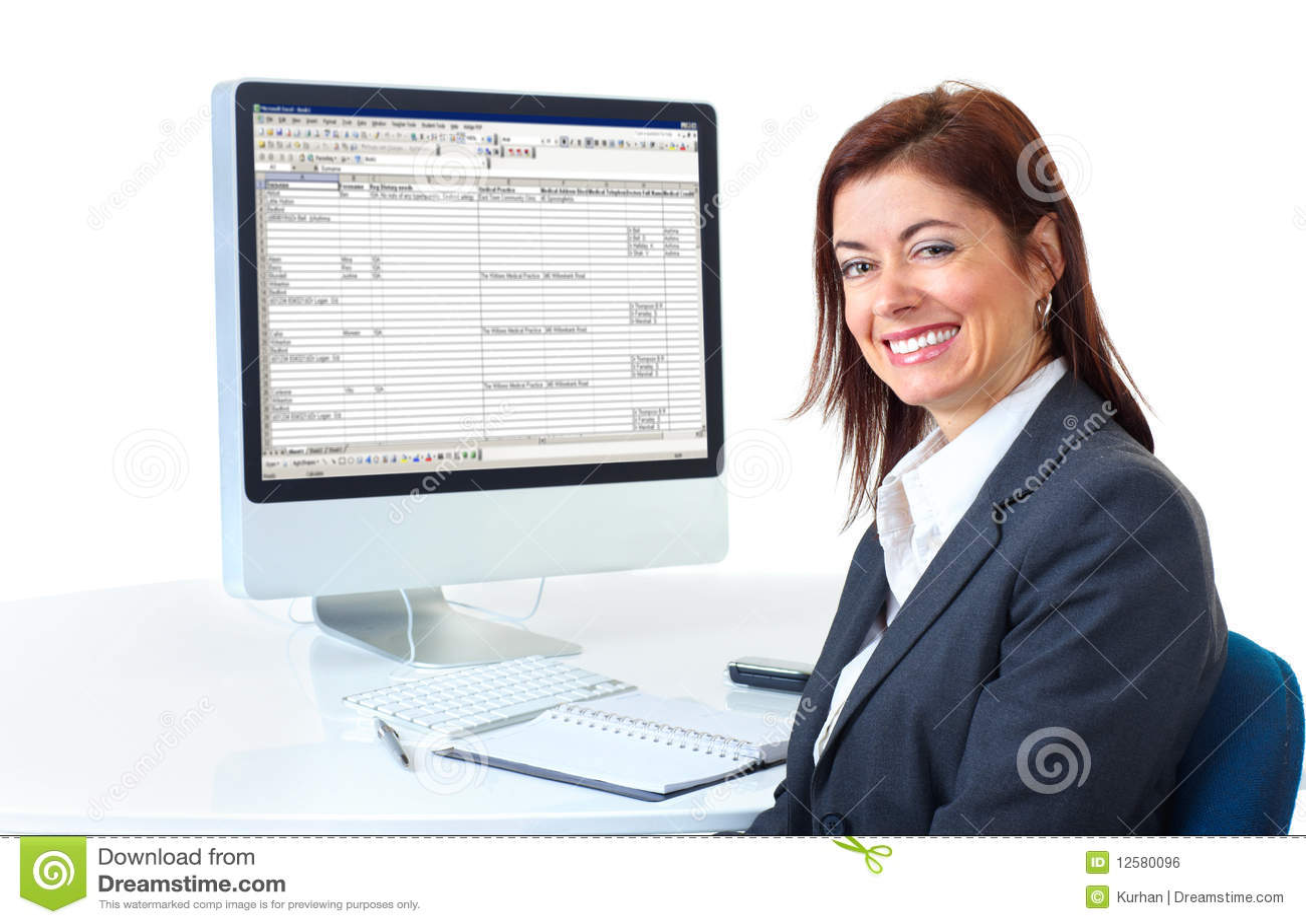 Bedrijfs vrouw stock foto afbeelding bestaande uit achtergrond 12580096 - Secretaresse witte ...