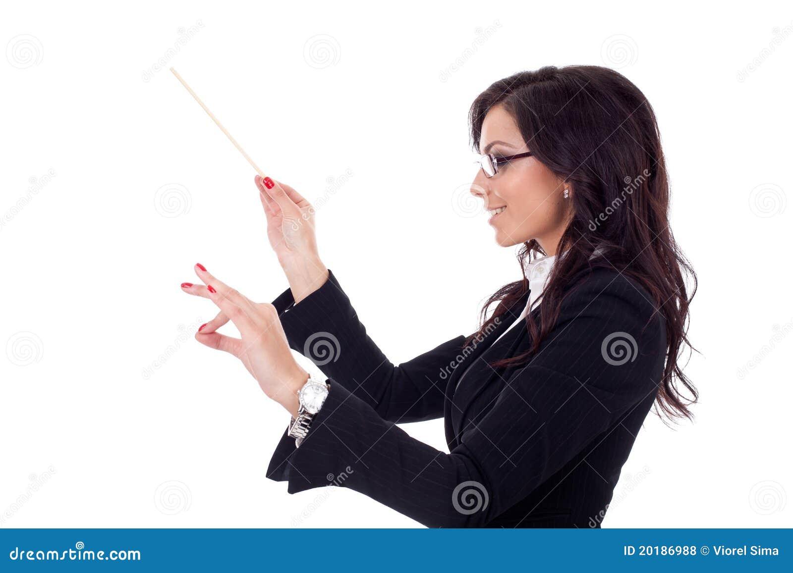 Bedrijfs vrouw die haar zaken leidt