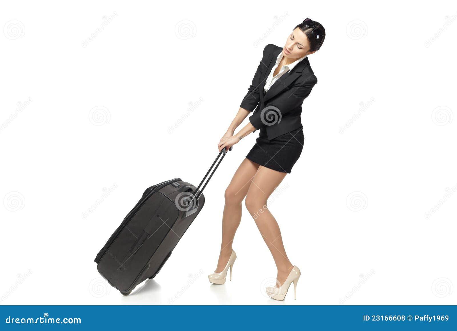 Bedrijfs Vrouw Die Haar Zware Koffer Trekt Royalty vrije Stock Foto u0026#39;s   Afbeelding  23166608