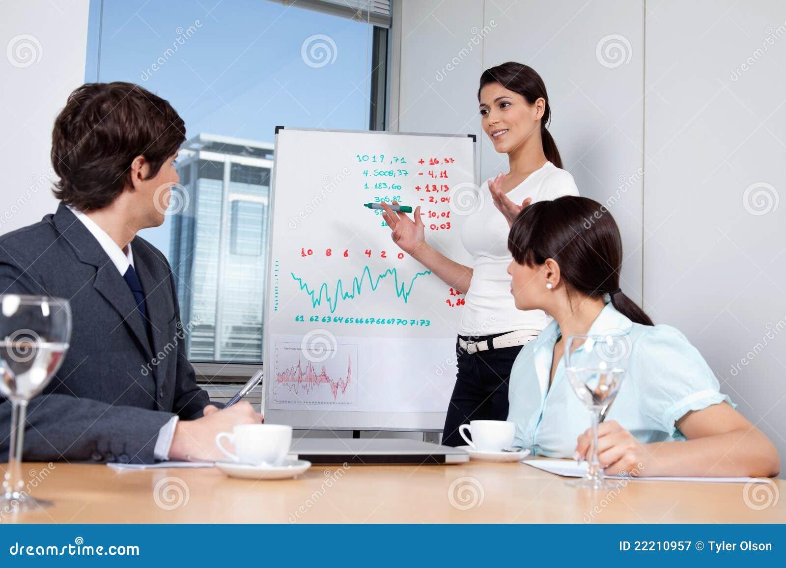 Bedrijfs vrouw die Presentatie geeft