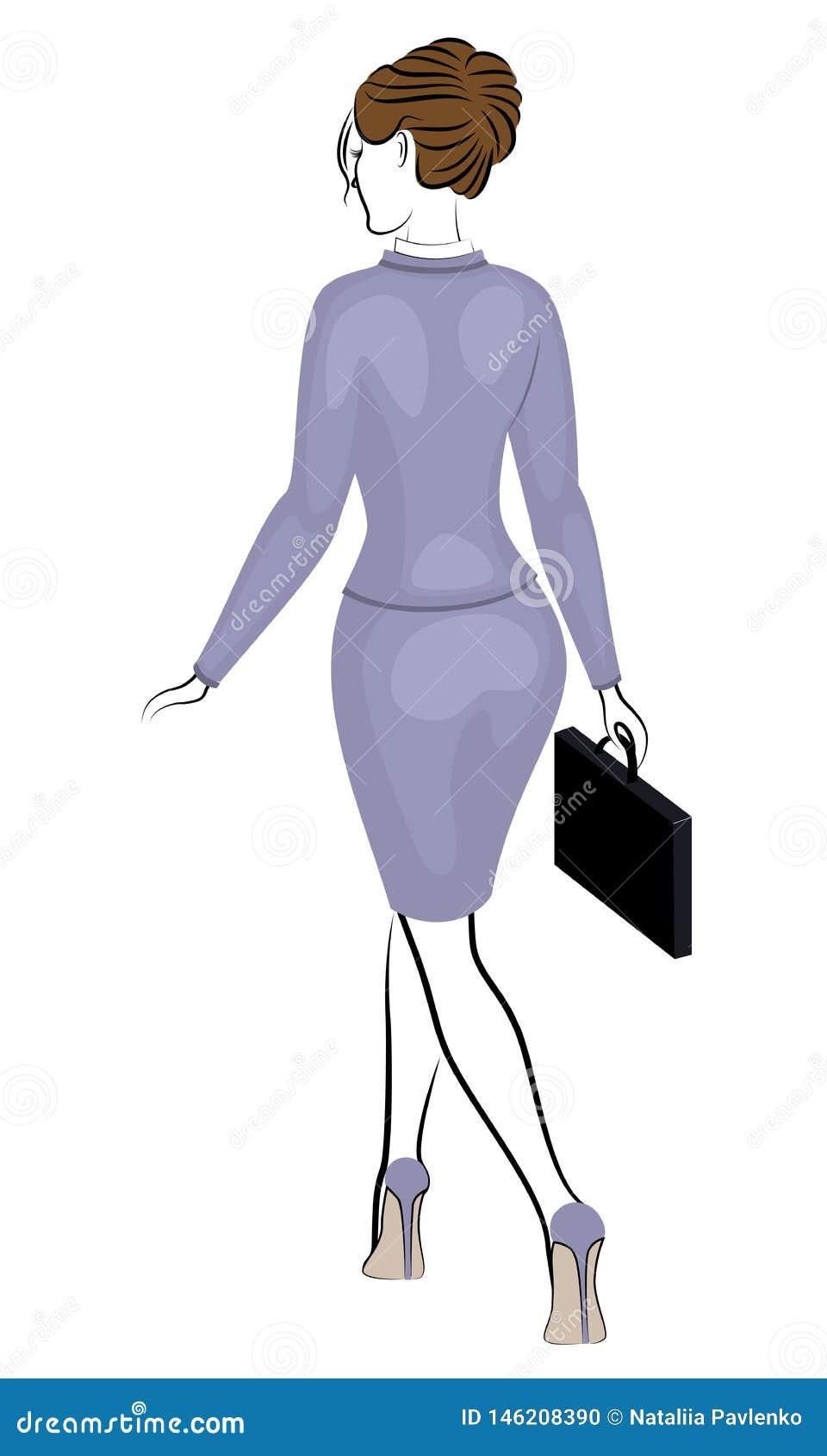 Bedrijfs vrouw - 2 Mooi meisje in een purper strikt kostuum Een vrouw loopt, geschoeid in high-heeled schoenen Vector illustratie