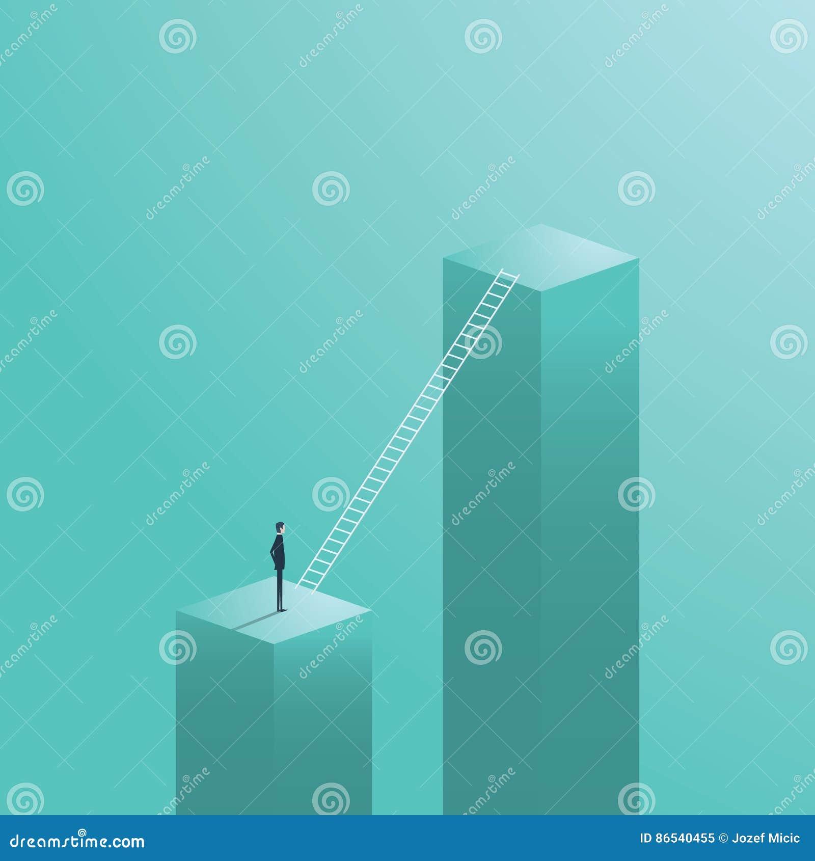 Bedrijfscarrièrebeweging, kans met zakenman status naast collectief laddersymbool