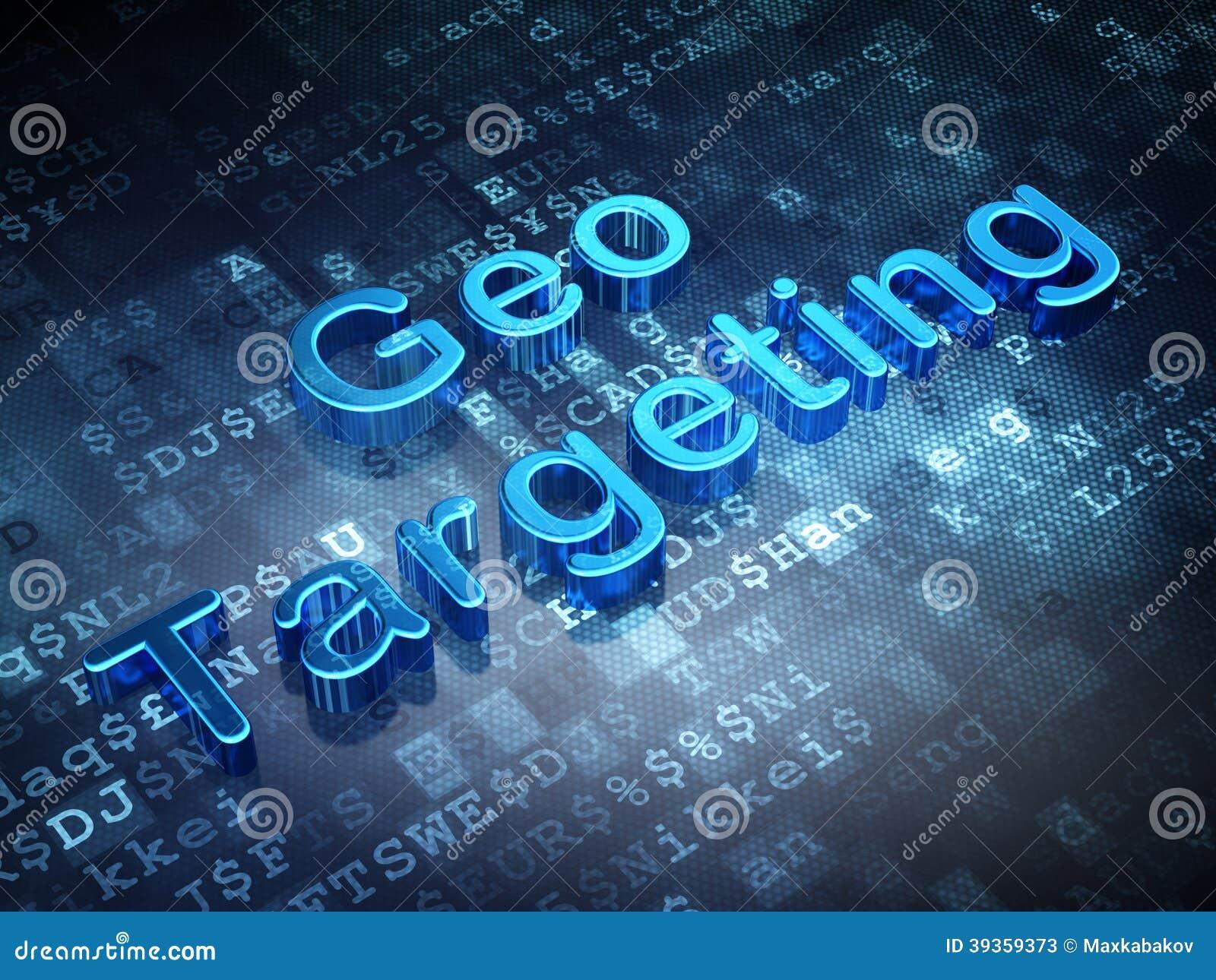 Bedrijfsconcept: Blauw Geo die op digitale achtergrond richten