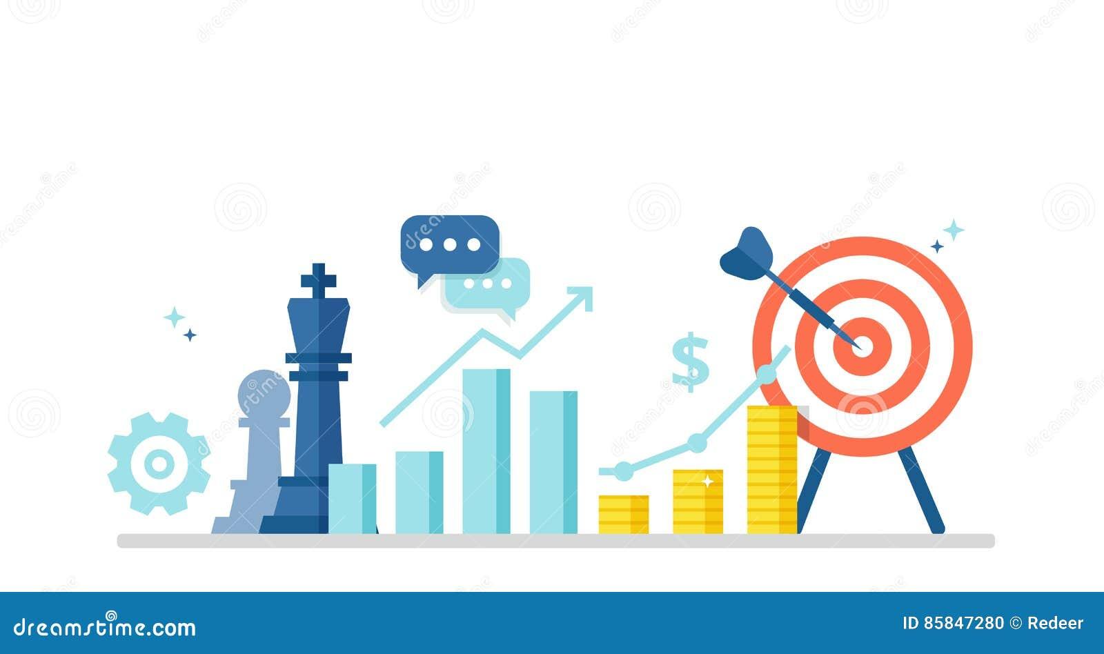 Bedrijfsconcept met pictogrammen van schaakstukken, programma, winst en doel De marketing van strategiebanner in vlakke stijl Vec