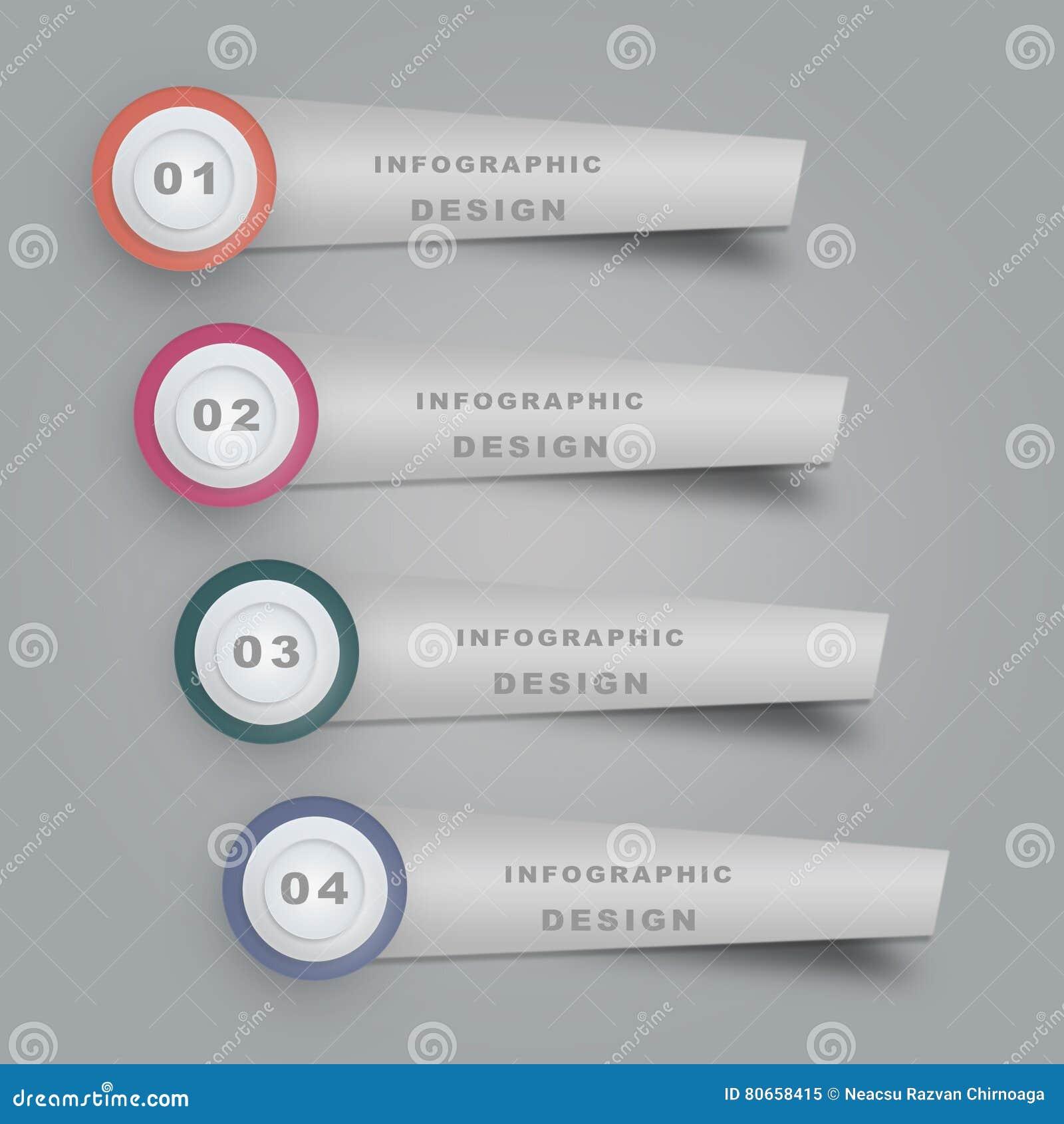 Bedrijfsconceptenchronologie Infographmalplaatje, realistisch document 4 infographic stappen
