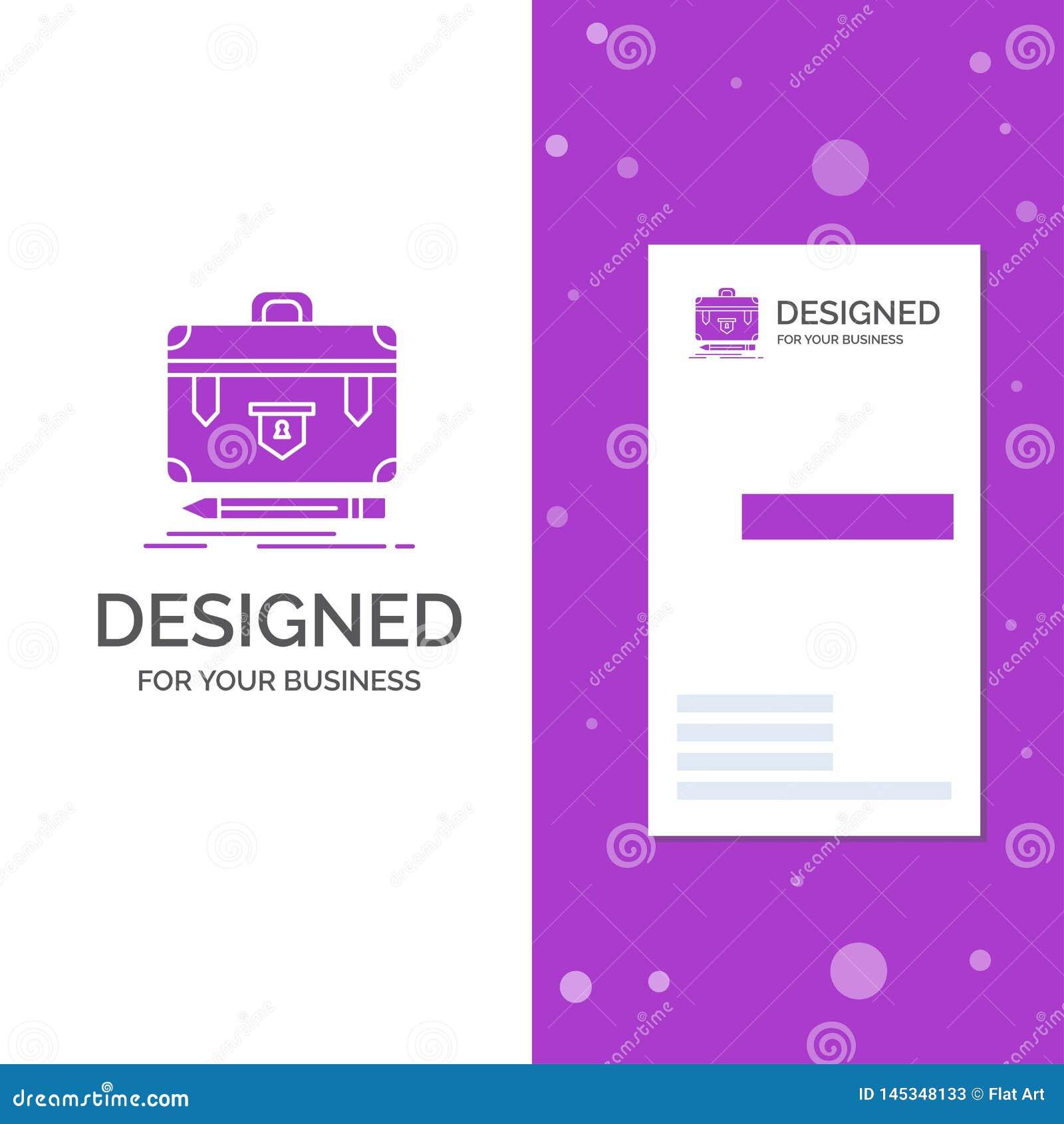 Bedrijfsembleem voor aktentas, financi?le zaken, beheer, portefeuille Verticaal Purper Bedrijfs/Visitekaartjemalplaatje
