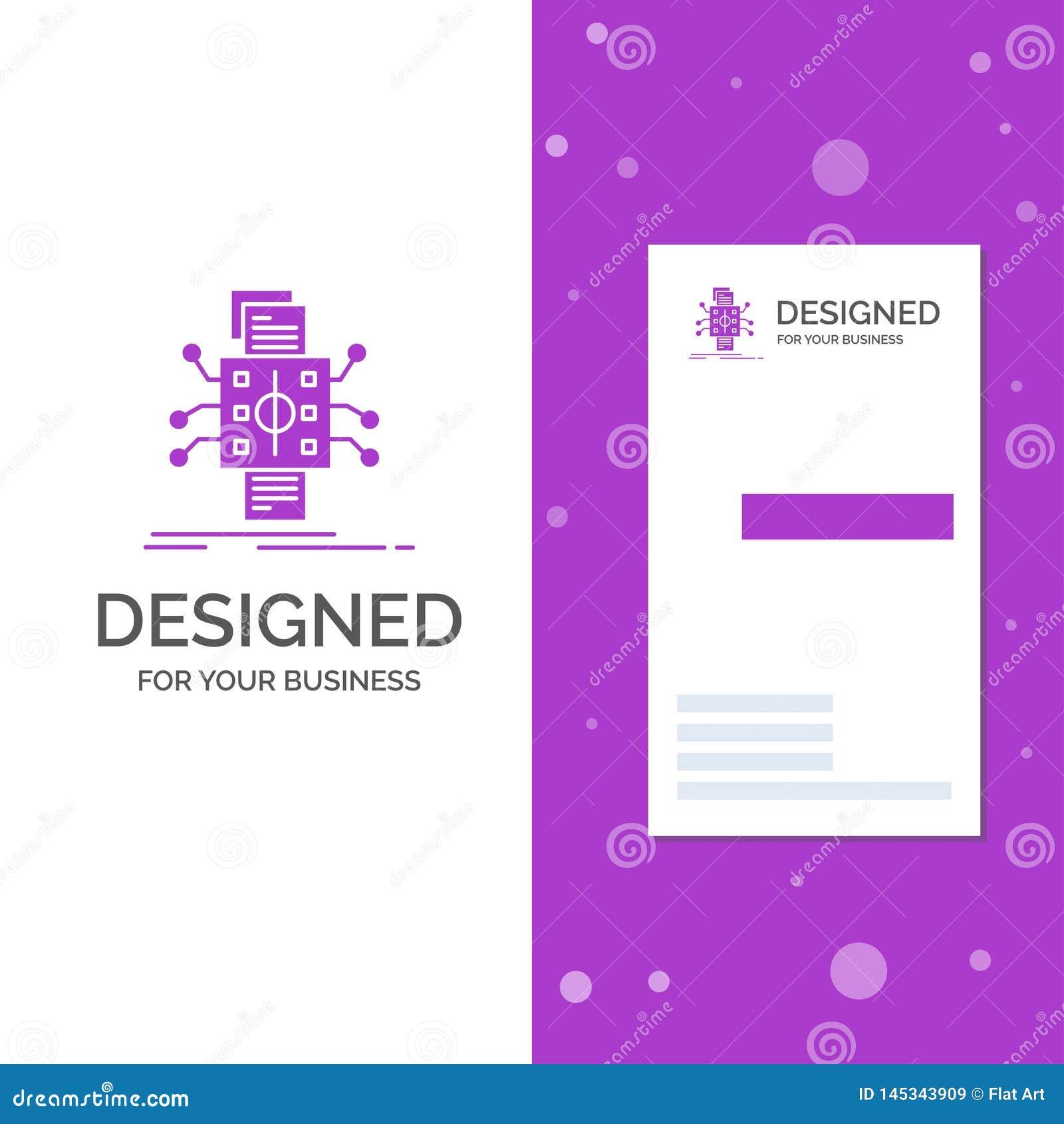Bedrijfsembleem voor Analyse, gegevens, gegeven, verwerking, rapportering Verticaal Purper Bedrijfs/Visitekaartjemalplaatje creat