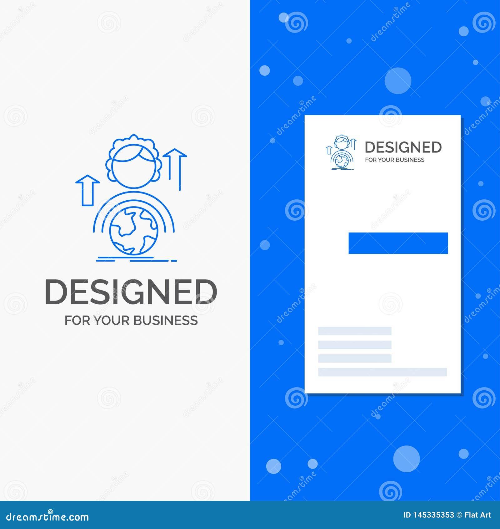 Bedrijfsembleem voor capaciteiten, globale ontwikkeling, Vrouwelijk, online Verticaal Blauw Bedrijfs/Visitekaartjemalplaatje