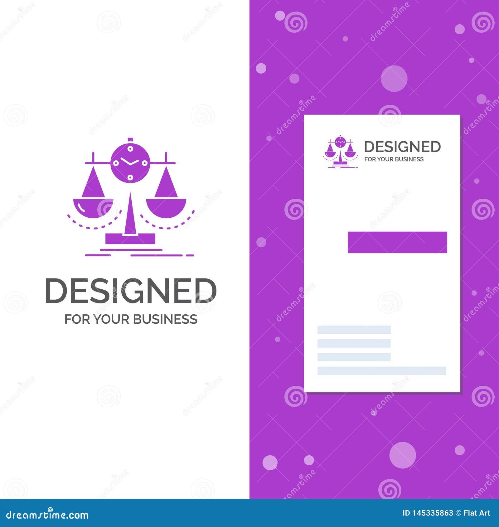 Bedrijfsembleem voor Evenwichtig, beheer, maatregel, scorecard, strategie Verticaal Purper Bedrijfs/Visitekaartjemalplaatje creat