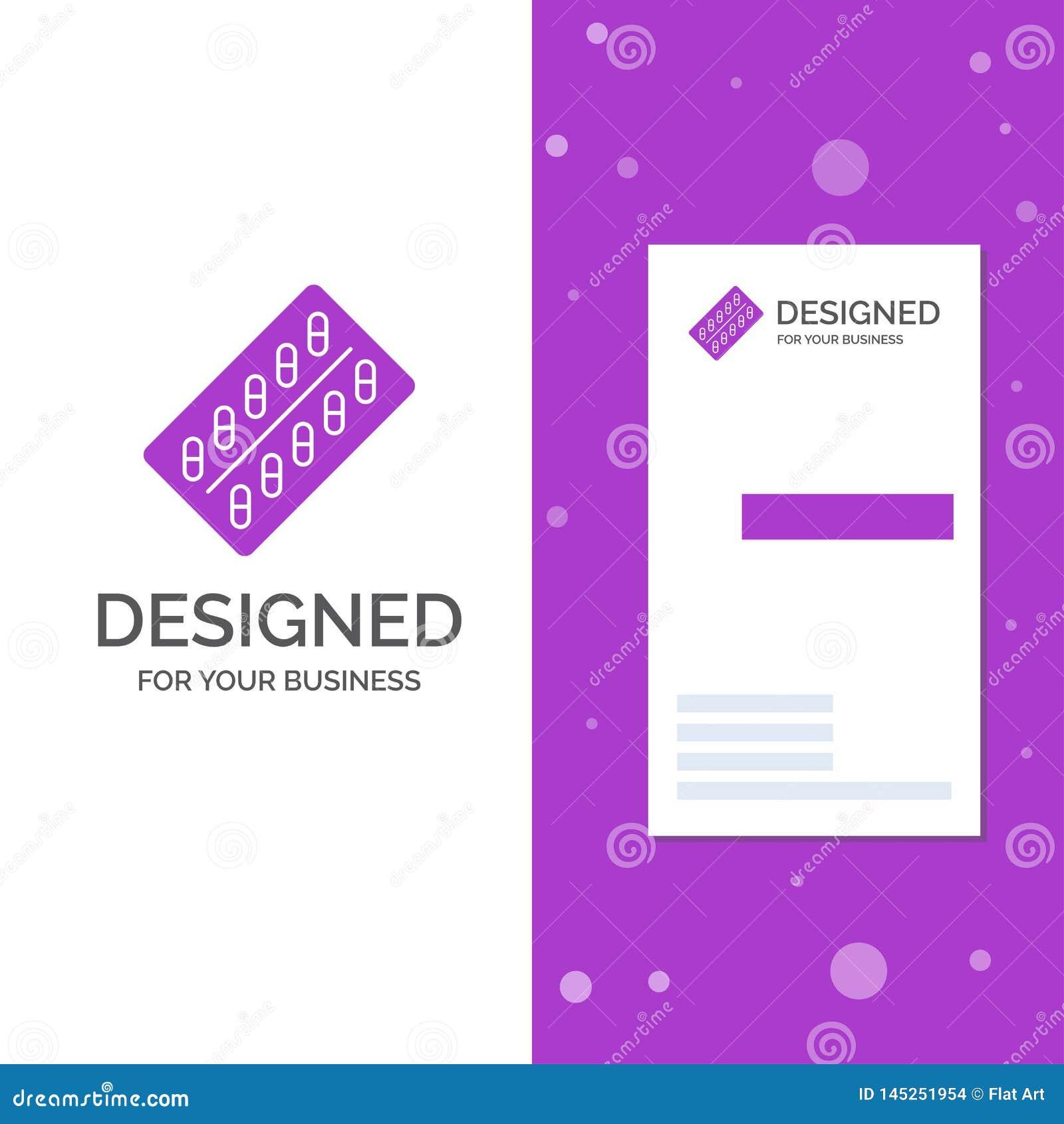 Bedrijfsembleem voor geneeskunde, Pil, drugs, tablet, pakket Verticaal Purper Bedrijfs/Visitekaartjemalplaatje Creatieve achtergr