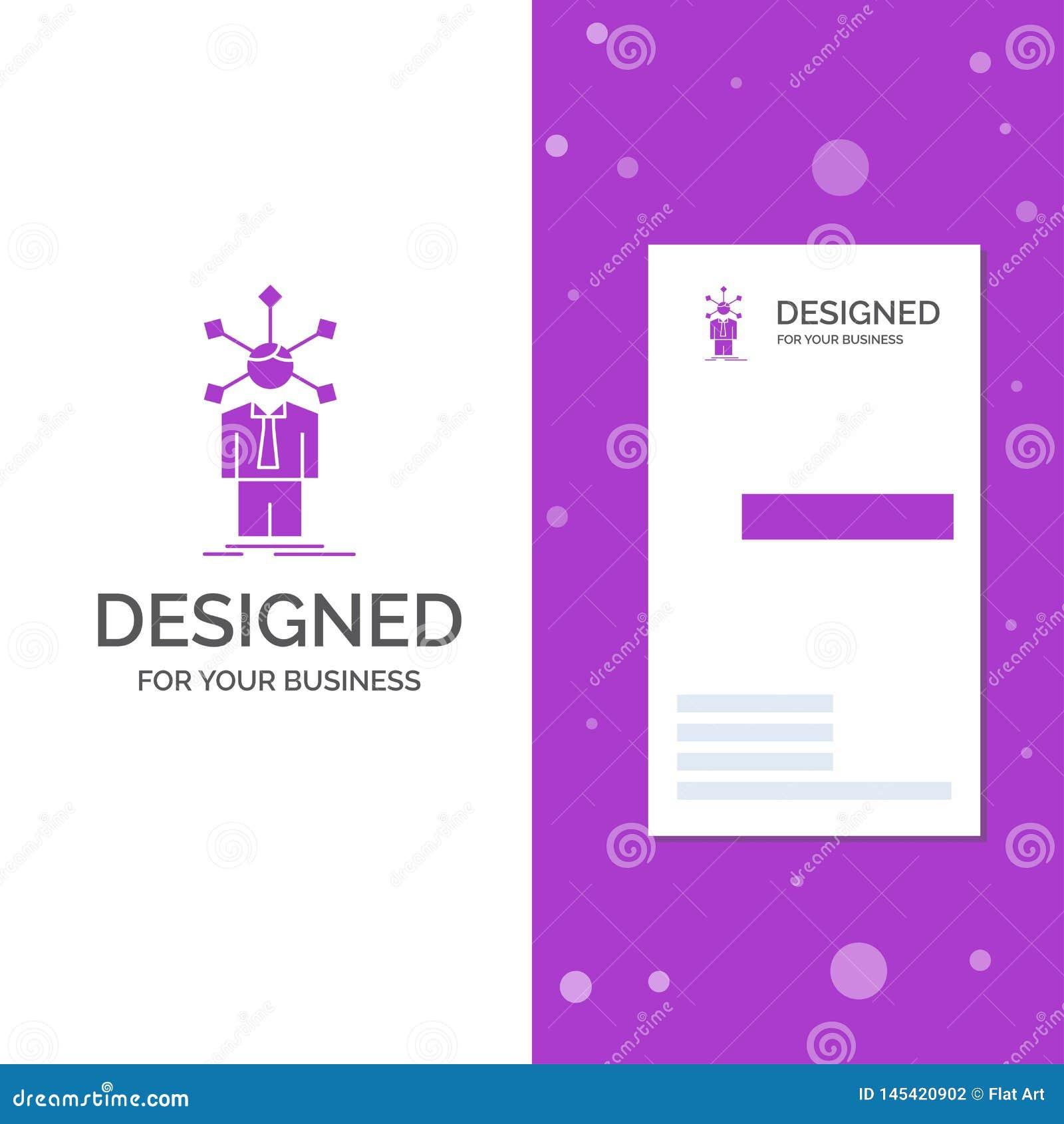 Bedrijfsembleem voor ontwikkeling, mens, netwerk, persoonlijkheid, zelf Verticaal Purper Bedrijfs/Visitekaartjemalplaatje creatie