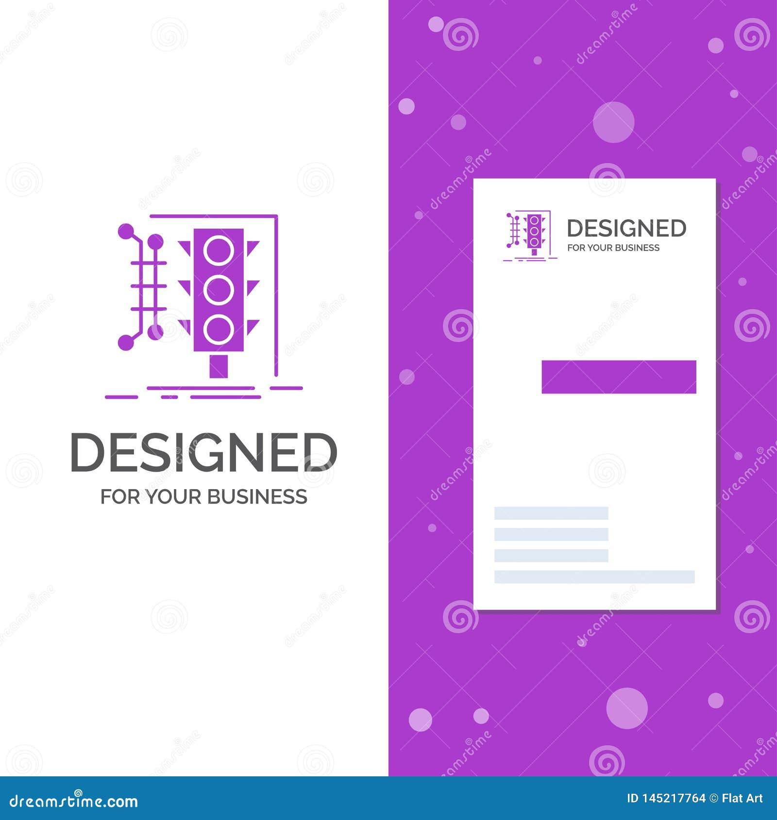 Bedrijfsembleem voor Stad, beheer, slimme controle, verkeer Verticaal Purper Bedrijfs/Visitekaartjemalplaatje creatief