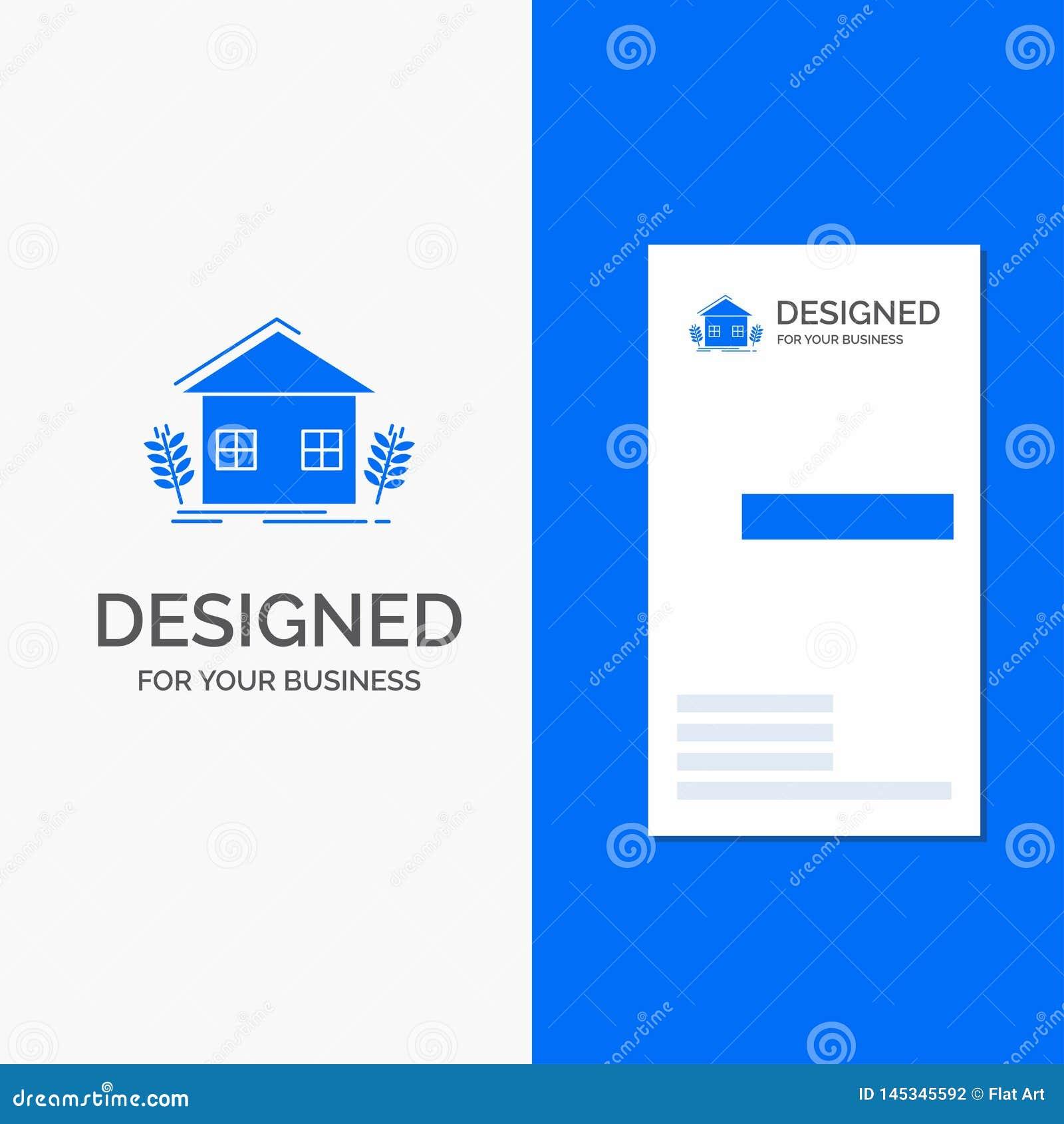 Bedrijfsembleem voor stedelijke landbouw, ecologie, milieu, de landbouw Verticaal Blauw Bedrijfs/Visitekaartjemalplaatje